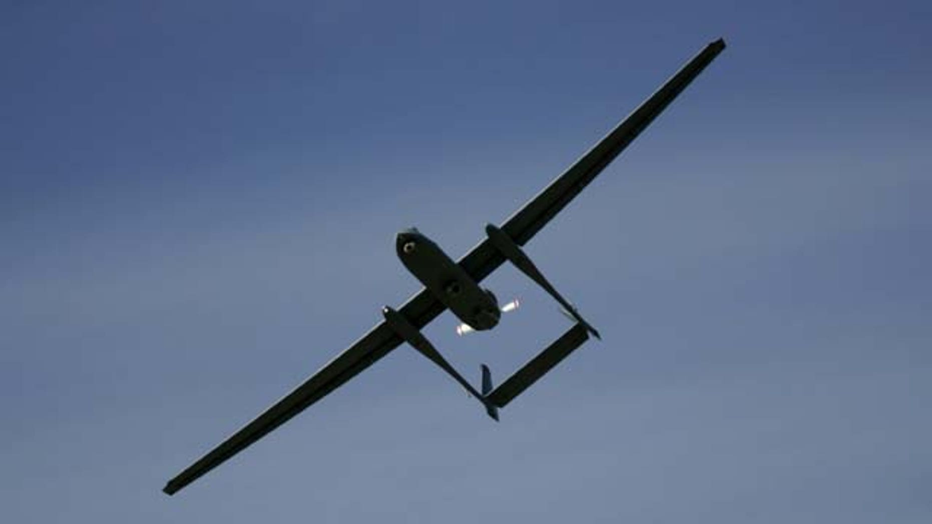 In this March 7, 2007, file photo, the Israeli army Heron TP drone, also known locally as the Eitan, flies during a display at the Palmahim Air Force Base in Palmahim, Israel (AP Photo)