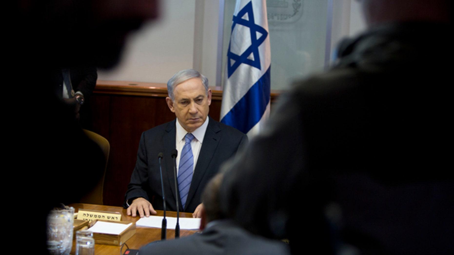 Jan. 4, 2015: Israeli Prime Minister Benjamin Netanyahu attends a weekly cabinet meeting in Jerusalem. (AP Photo/Oded Balilty, Pool)