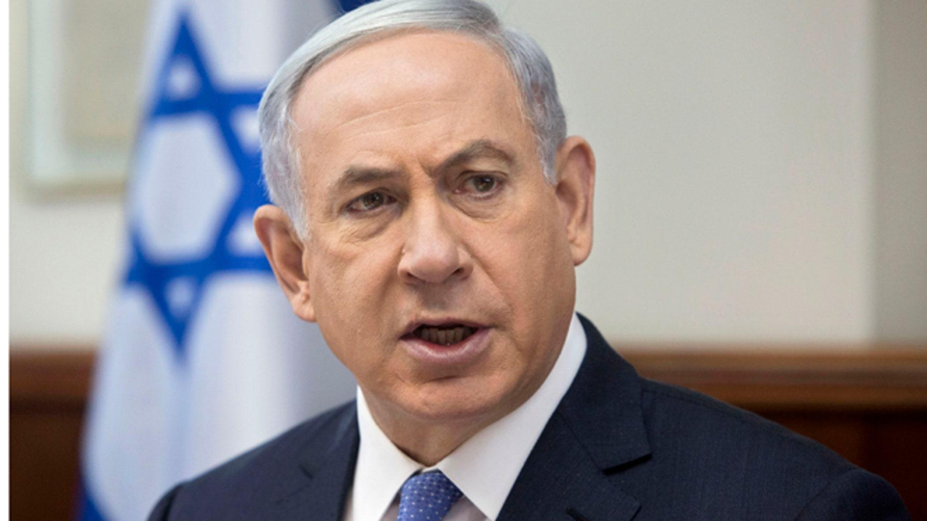 June 7, 2015: Israeli Prime Minister Benjamin Netanyahu attends the weekly cabinet meeting in his Jerusalem office.
