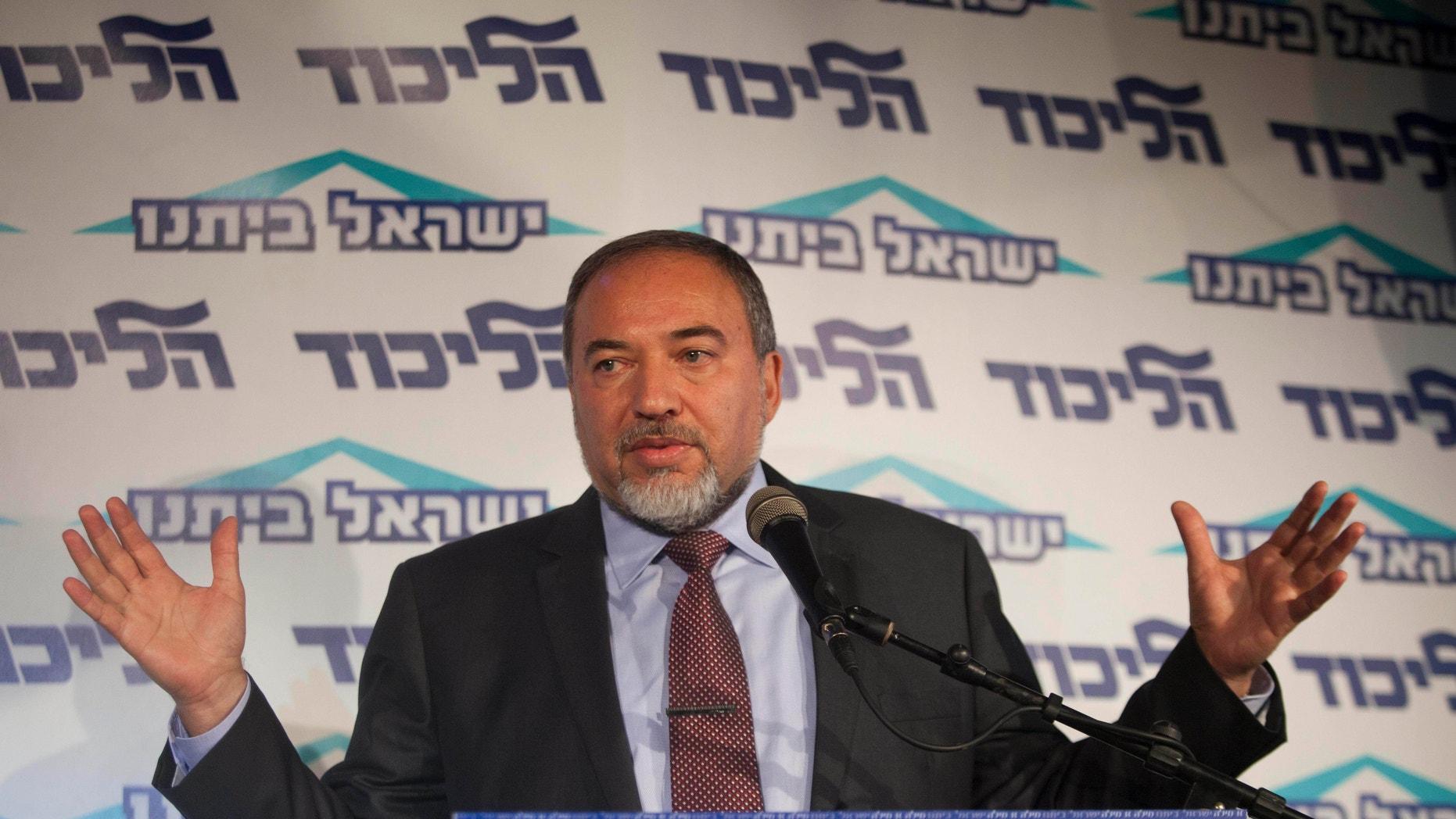 Dec. 13, 2012 -Israel's Foreign Minister Avigdor Lieberman speaks to the media during an event in Tel Aviv, Israel.
