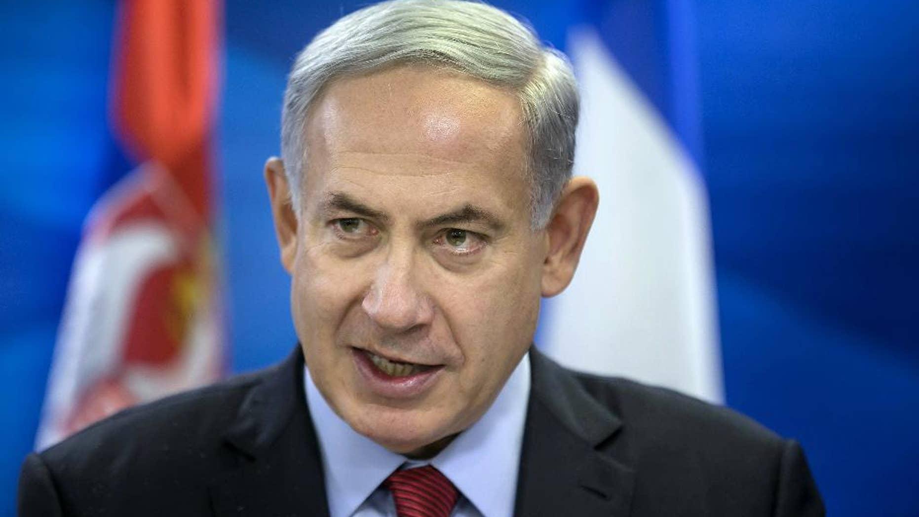 Israel's Prime Minister Benjamin Netanyahu speaks during a meeting with his Serbian counterpart Aleksandar Vucic in Jerusalem, Monday, Dec. 1, 2014. (AP Photo/Baz Ratner, Pool)