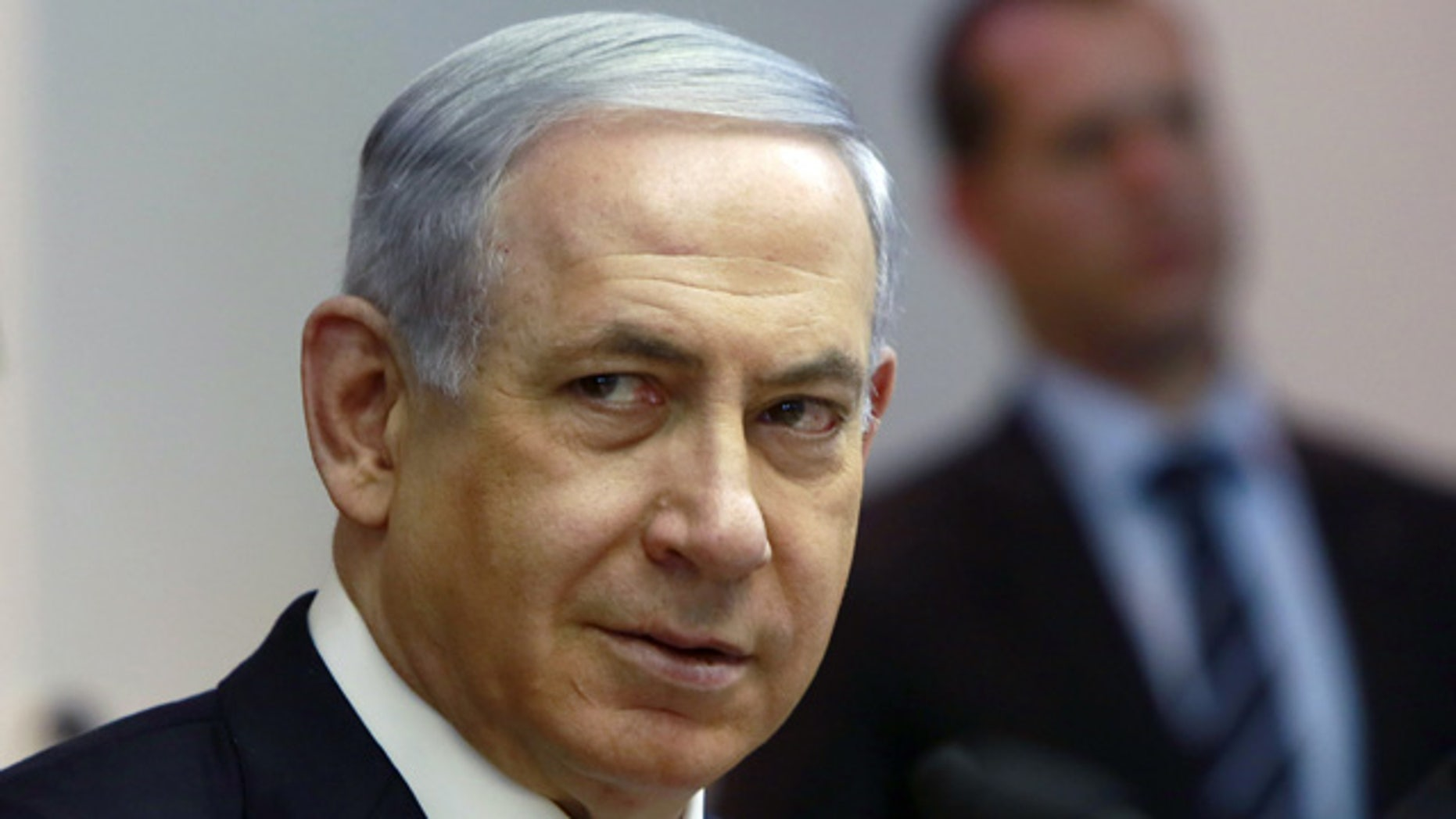 March 8, 2015: Israeli Prime Minister Benjamin Netanyahu chairs the weekly cabinet meeting at his Jerusalem office, Sunday. (AP Photo/Gali Tibbon, Pool)