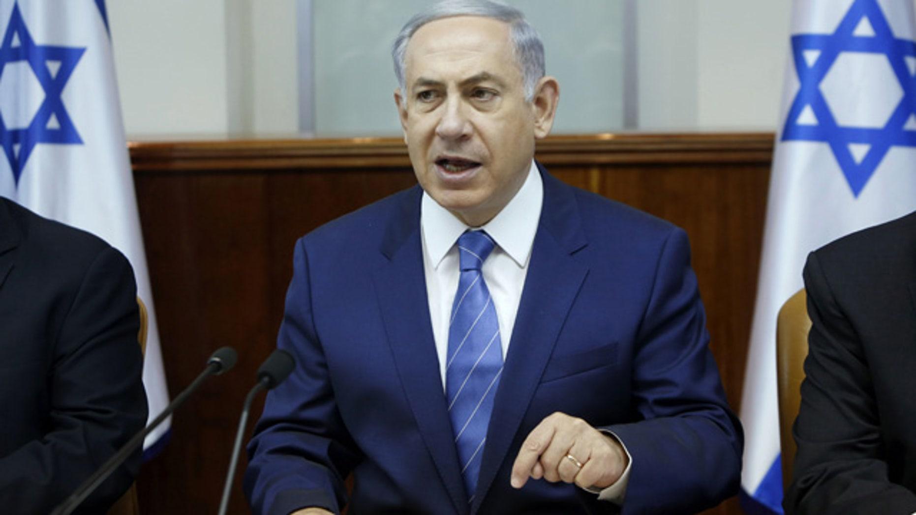 August 2, 2015: Israel's Prime Minister Benjamin Netanyahu chairs the weekly cabinet meeting in Jerusalem. (Gali Tibbon/Pool Photo via AP)