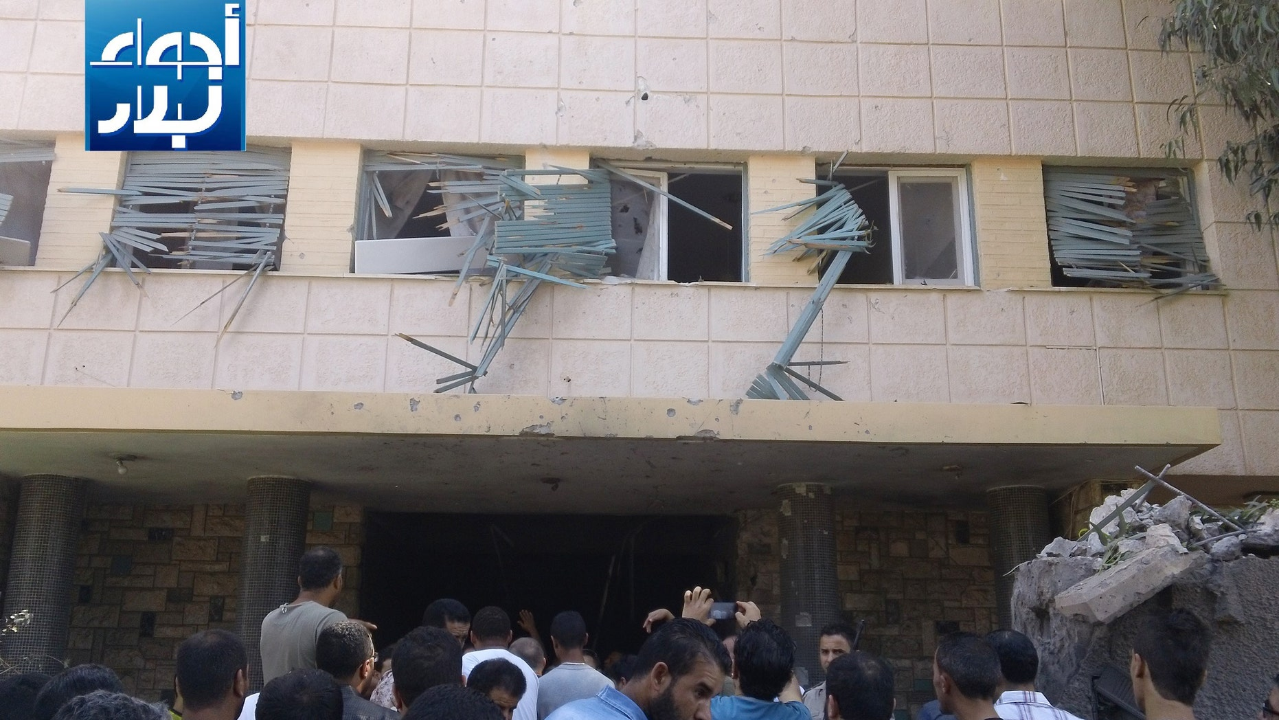 Oct. 11, 2013 - Aftermath of a car bomb attack on a building housing the Swedish and Finnish consulates in Benghazi, Libya, badly damaging it but causing no casualties, (Ajwaa Leblad News)