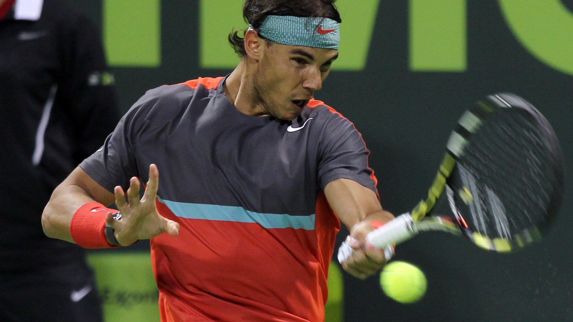 Rafael Nadal  in the semifinal match of the Qatar Open on Friday, Jan. 3, 2014.