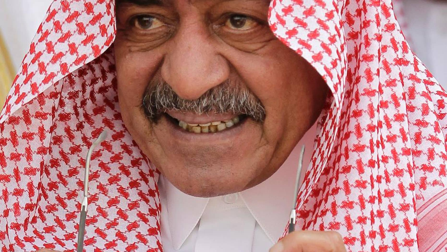 In this Monday, May 14, 2012 photo, Prince Muqrin bin Abdulaziz is seen at at Riyadh Base in Riyadh, Saudi Arabia. The Saudi Royal Court has announced Thursday, March 27, 2014 that King Abdullah's son, Prince Muqrin has been named deputy crown prince, a move that sets out clearly his place as second-in-line to the thrown after the crown prince. The statement says Muqrin bin Abdulaziz, who once headed the kingdom's intelligence agency and is the king's youngest son, will retain his title as second deputy prime minister and adviser to his father.(AP Photo/Hassan Ammar, File)