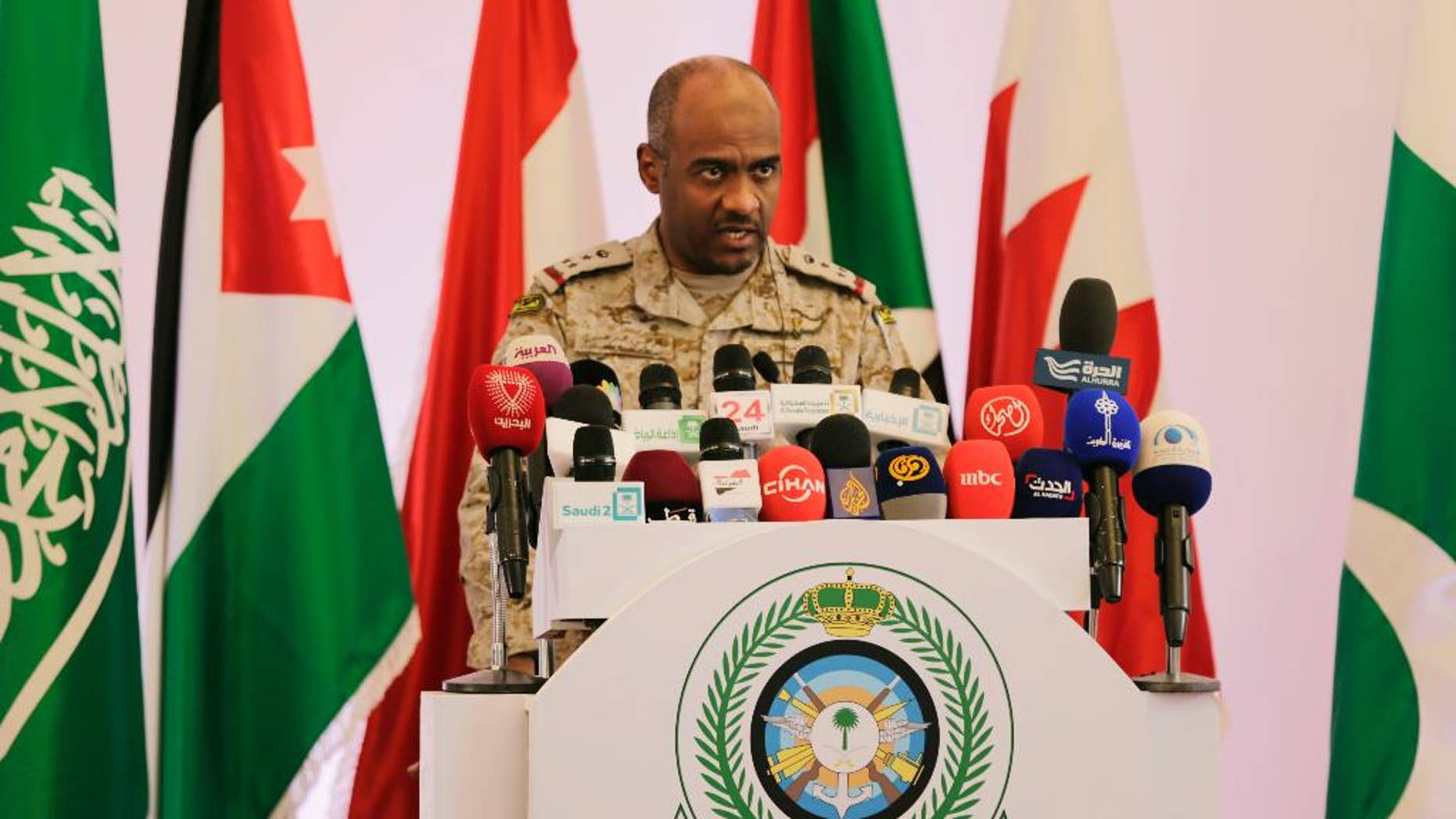 April 14, 2015: Saudi military spokesman Ahmed Asiri briefs journalists on the Saudi-led coalition's strikes on Houthi rebels in Yemen, during a press conference, in Riyadh, Saudi Arabia.