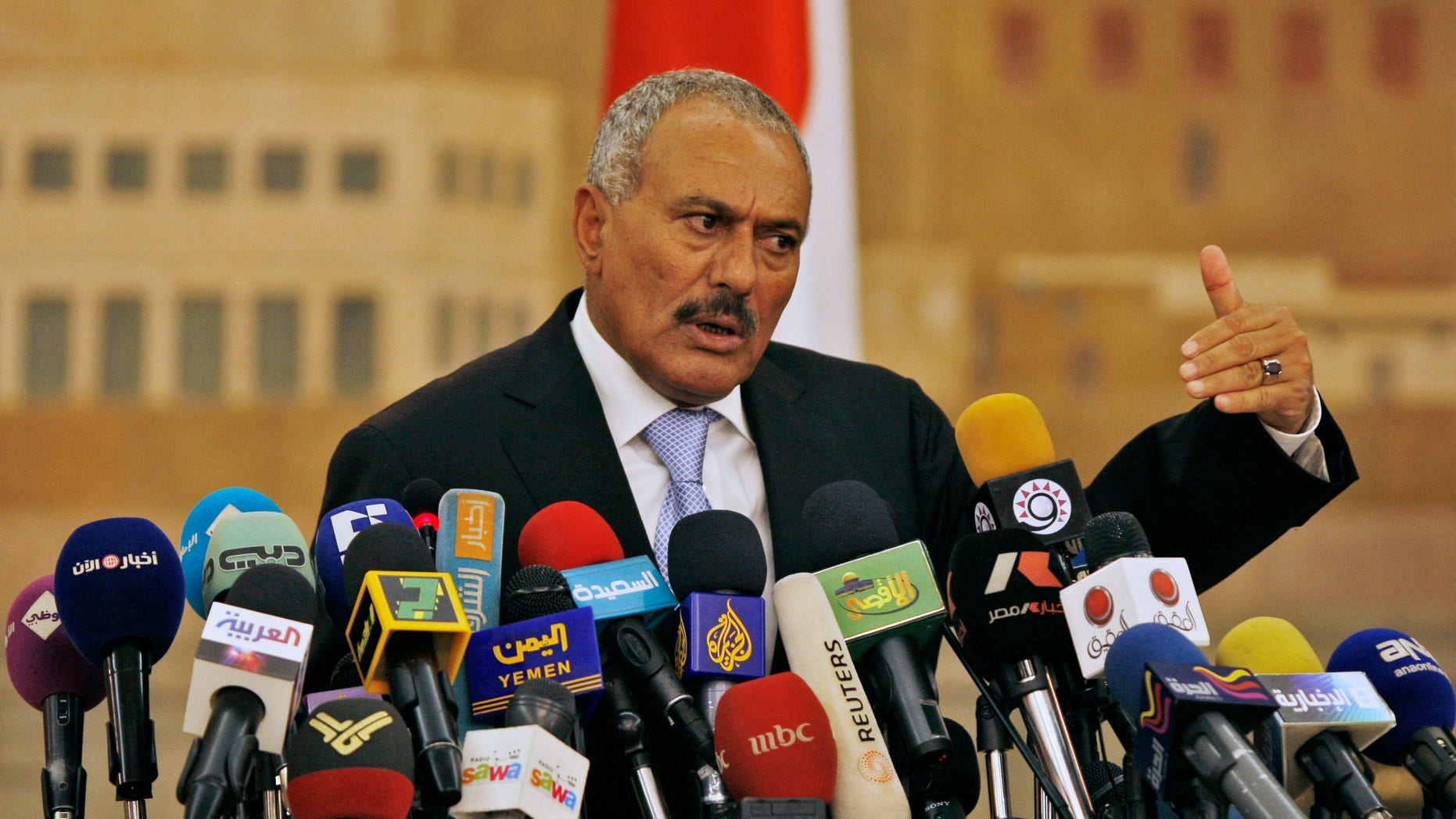 Feb. 21: Yemeni President Ali Abdullah Saleh gestures while attending a media conference in Sanaa, Yemen. Saleh rejected demands that he step down.