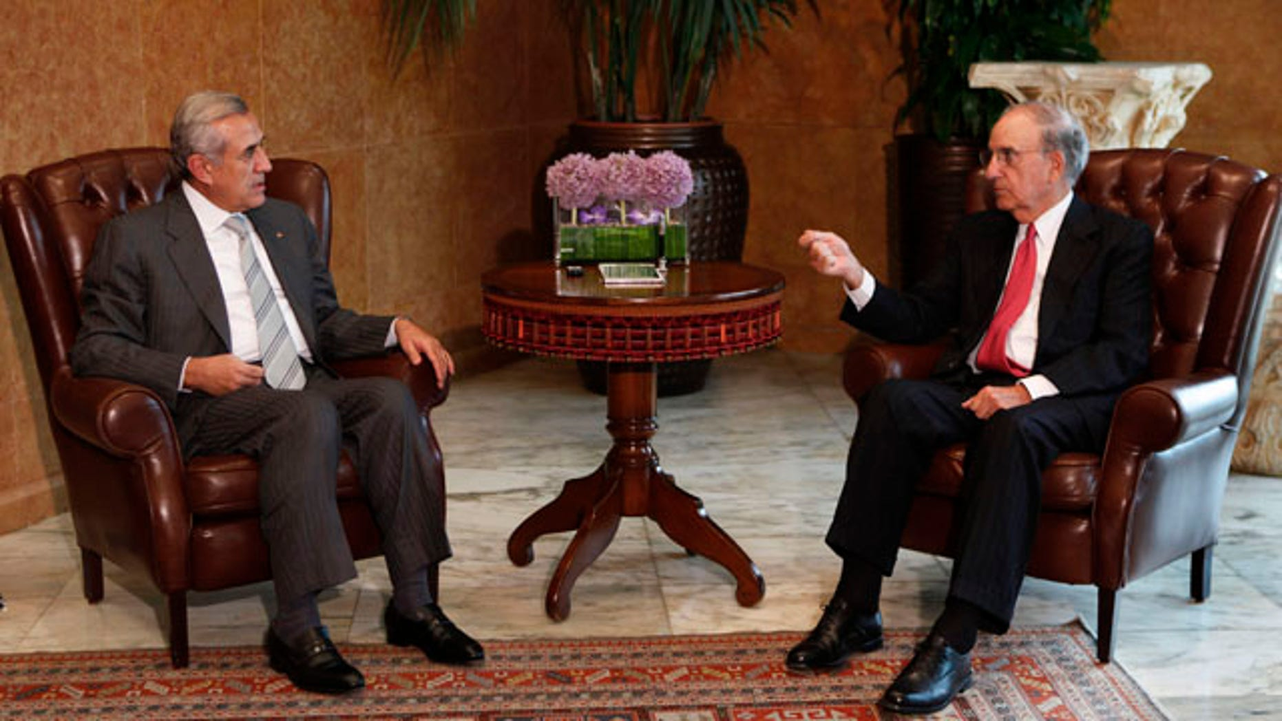 September 17: Lebanese President Michel Suleiman, meets with U.S. peace envoy George Mitchell, at the Presidential Palace in Baabda, east of Beirut, Lebanon. (AP)