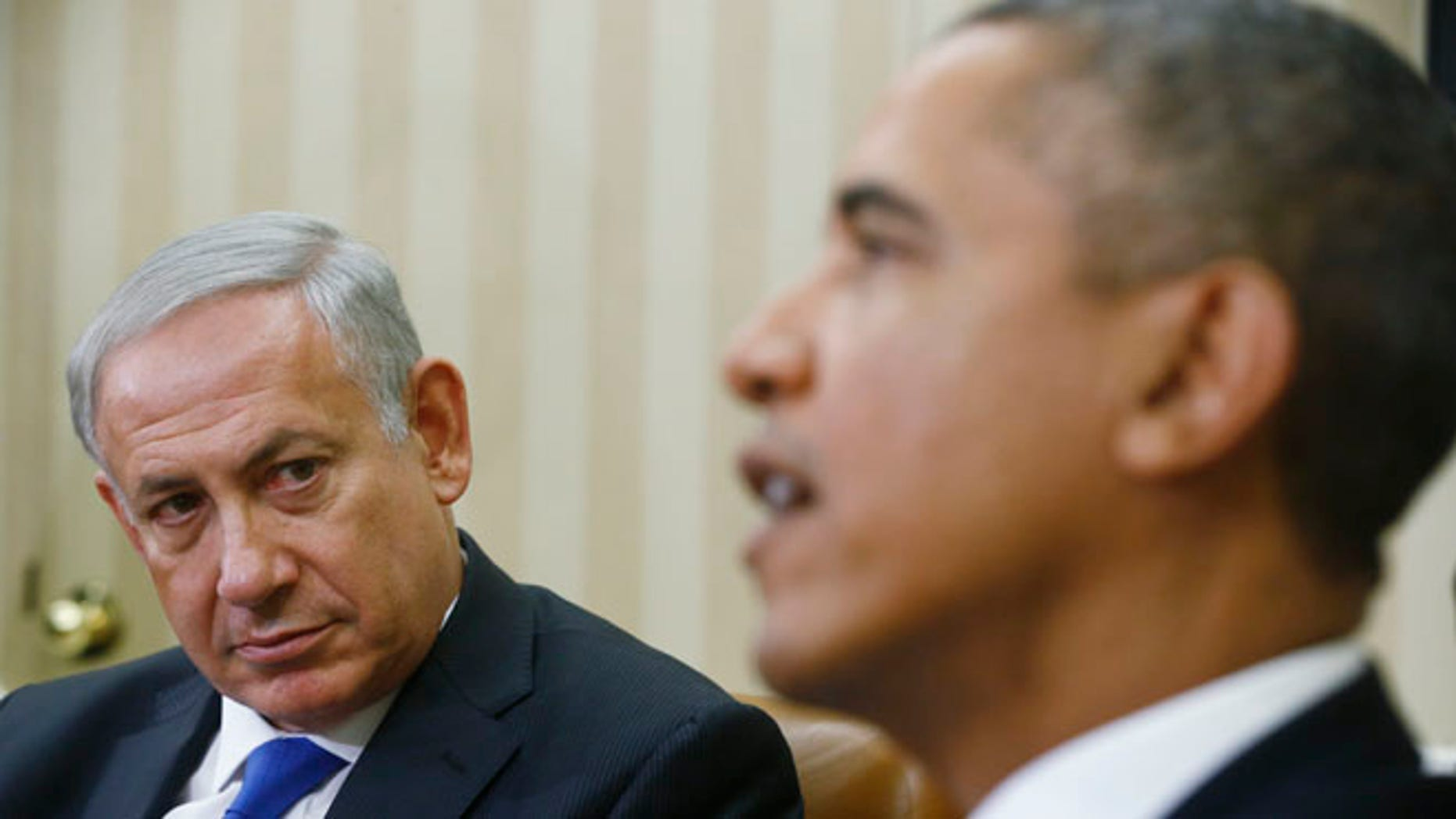 FILE - In this Sept. 30, 2013 file photo, President Barack Obama meets with Israeli Prime Minister Benjamin Netanyahu in the Oval Office at the White House in Washington.