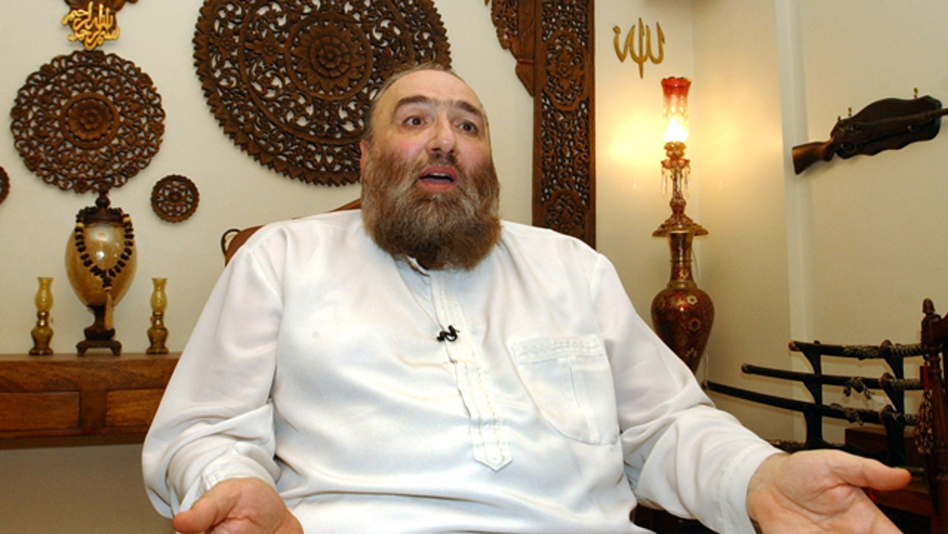 Nov. 12: Muslim Cleric Omar Bakri Mohammed speaks during an interview with The Associated Press in his house in the northern city of Tripoli, Lebanon.