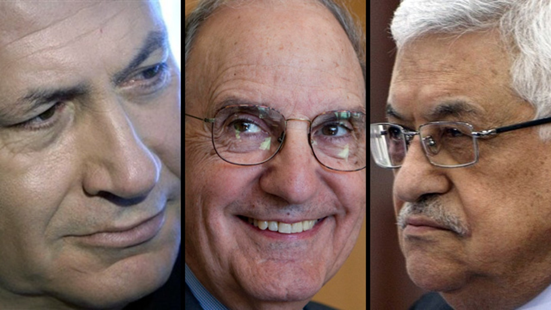 U.S. Mideast envoy George Mitchell, center, will shuttle between Palestinian President Mahmoud Abbas and Israeli Prime Minister Benjamin Netanyahu to narrow vast differences on terms of Palestinian statehood.