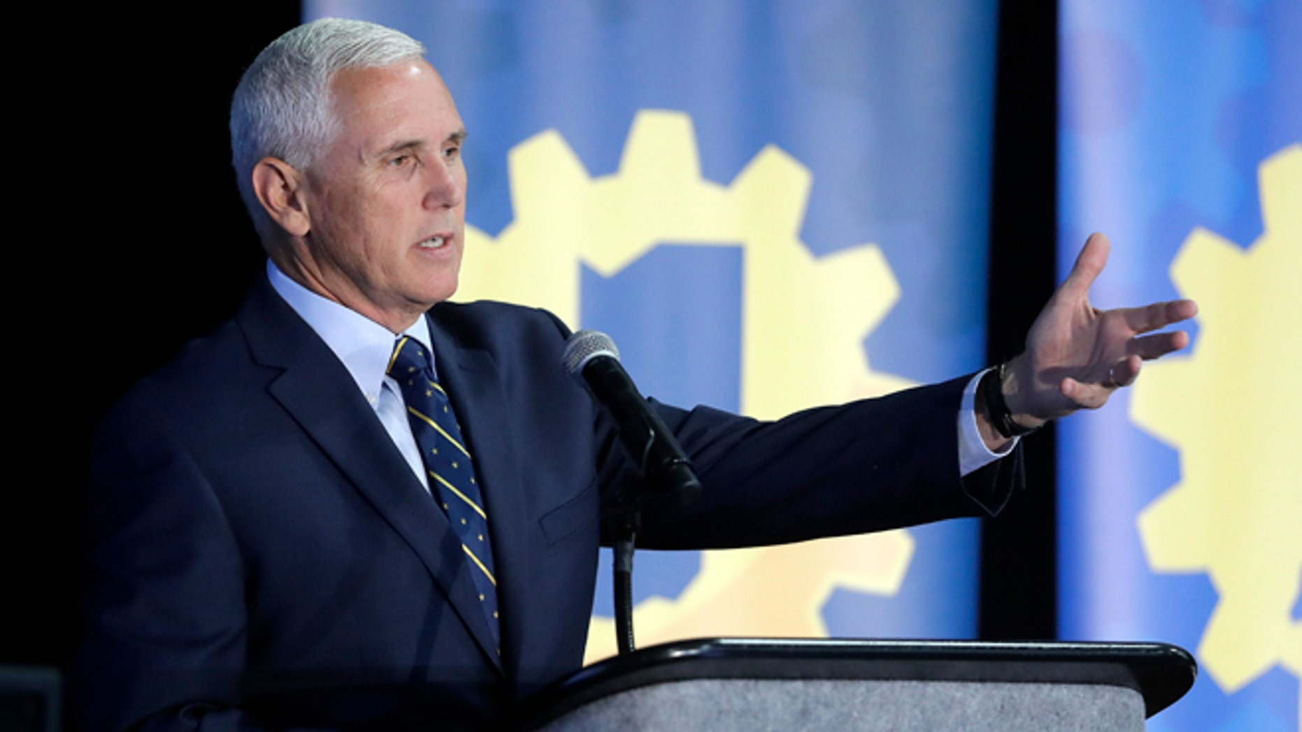 Indiana Gov. Mike Pence during the Innovation Showcase, Thursday, July 14, 2016, in Indianapolis.