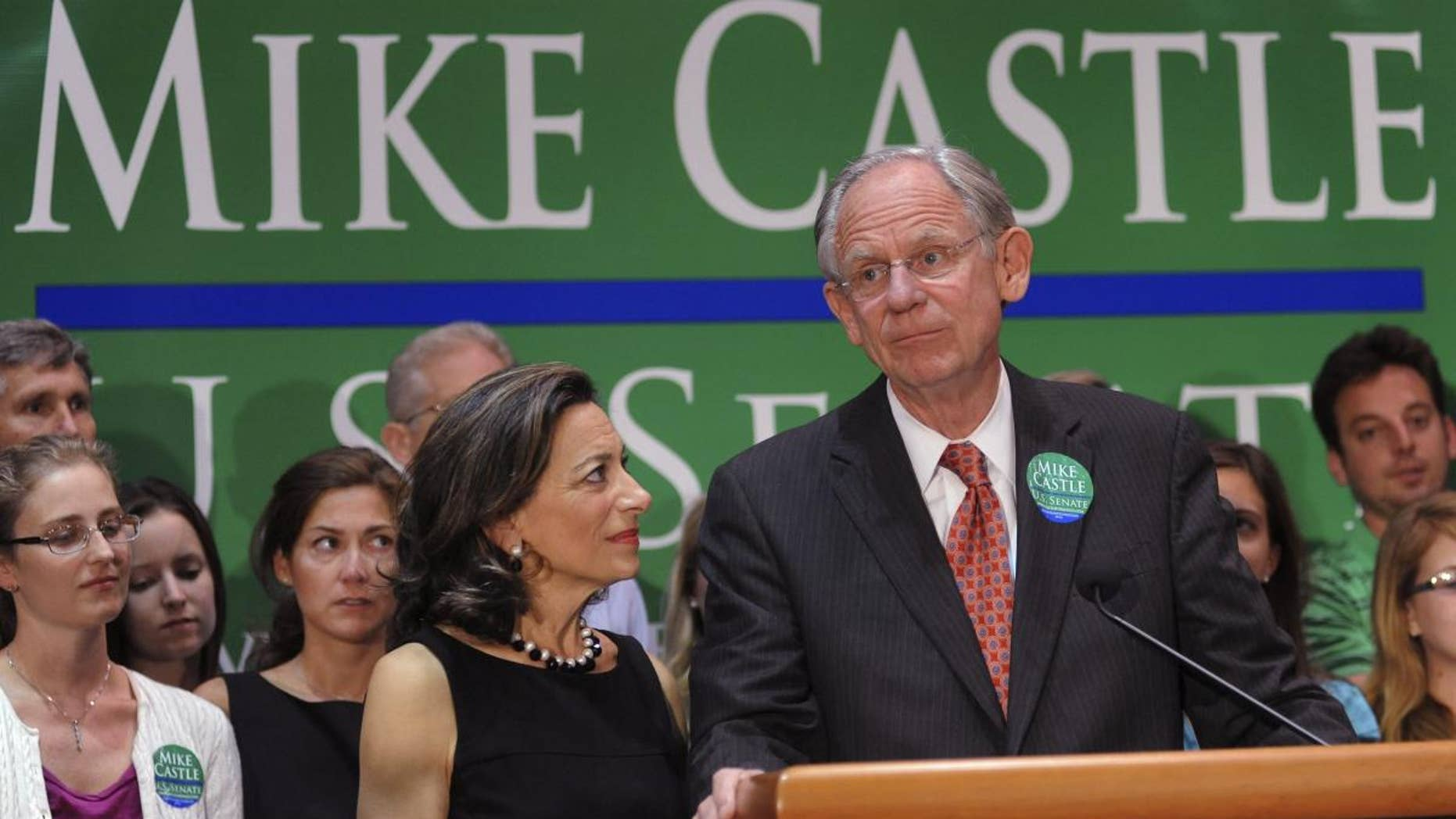 Rep. Mike Castle, R-Del., addresses supporters after his defeat on primary election night in Wilmington, Del., on Sept 14, 2010. (AP Photo)