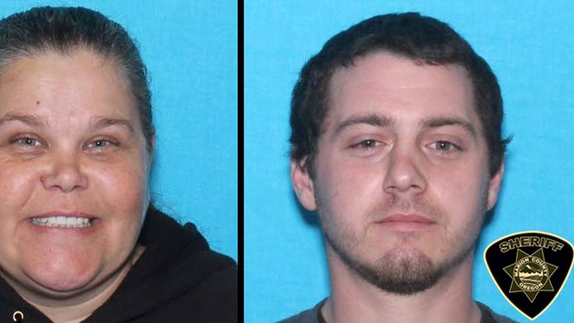 "This undated law enforcement booking combination photo provided by the Marion County, Ore., Sheriff's Office shows Bobbi Ann Finley of Dallas, Ore., 39, and her husband Zackerie House, 27. Authorities are searching for the pair, saying Finley and her husband have been writing fraudulent checks in three states. Finley, dubbed the ""Military Mistress,"" got her nickname in 2010 when national news outlets spotlighted allegations she went from one military base to the next, marrying service members to gain access to their bank accounts. In all, she married 14 U.S. service members. (AP Photo/Marion County Sheriff's Office)"