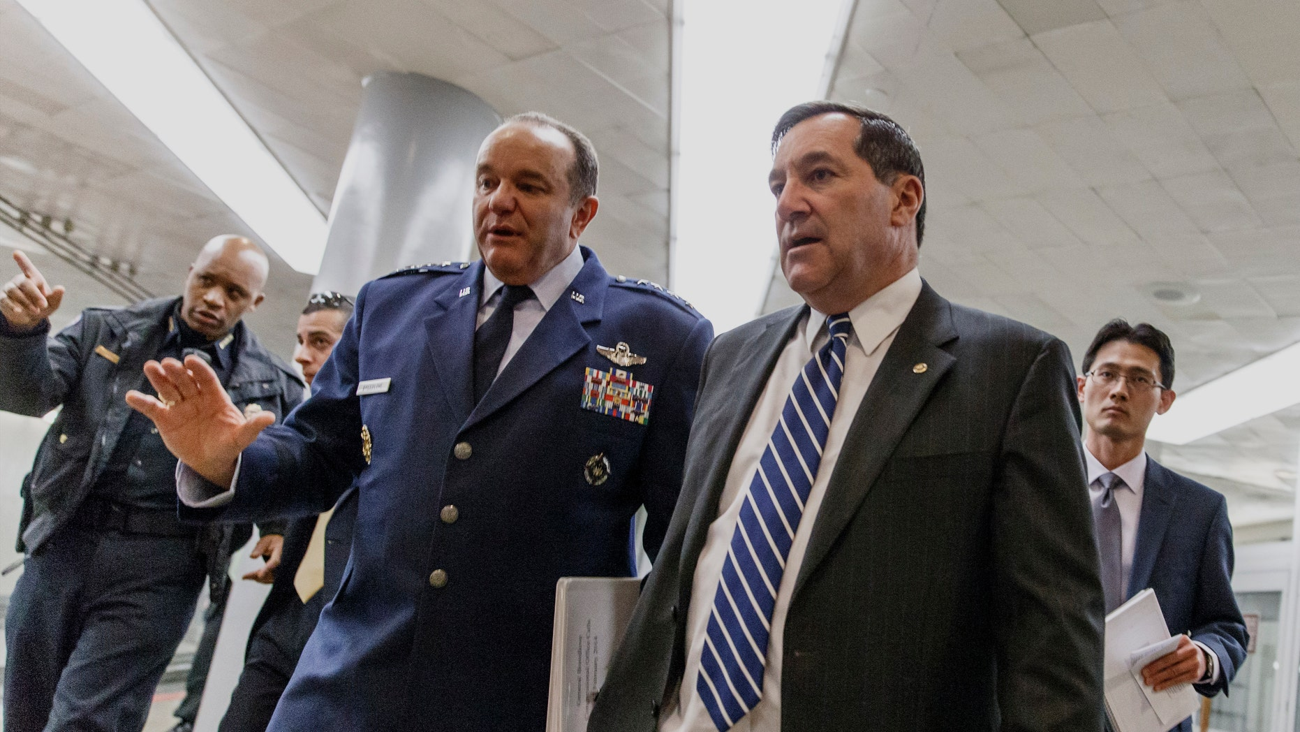 Feb. 12, 2014: Air Force Gen. Philip M. Breedlove, Supreme Allied Commander, Europe, walking with Sen. Joe Donnelly, D-Ind. on Capitol Hill in Washington.