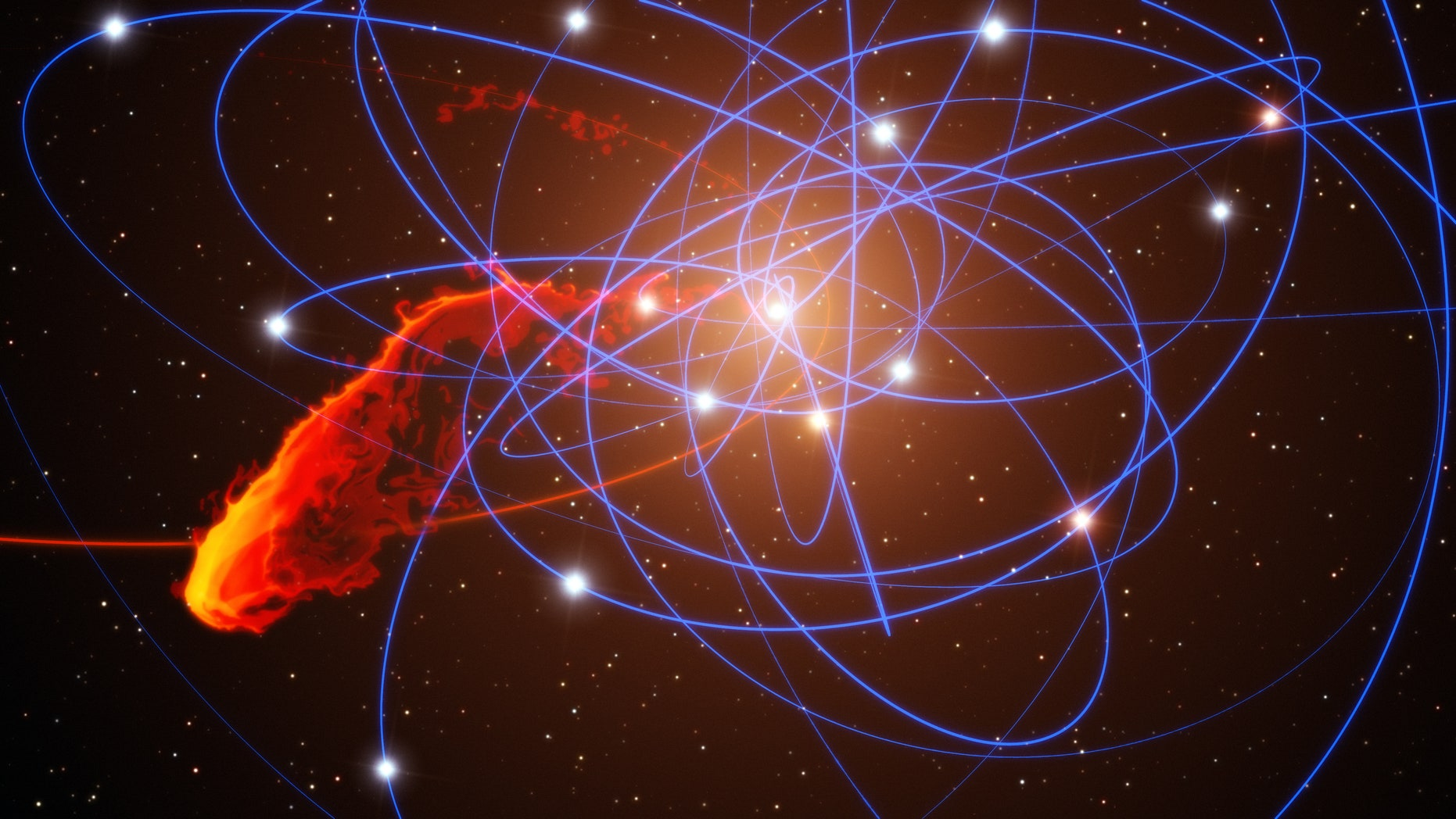 """A simulation of the gas cloud G2's encounter with the supermassive black hole Sgr A*. The blue lines mark the orbits of the so-called """"S"""" stars that are in close orbits around the black hole."""