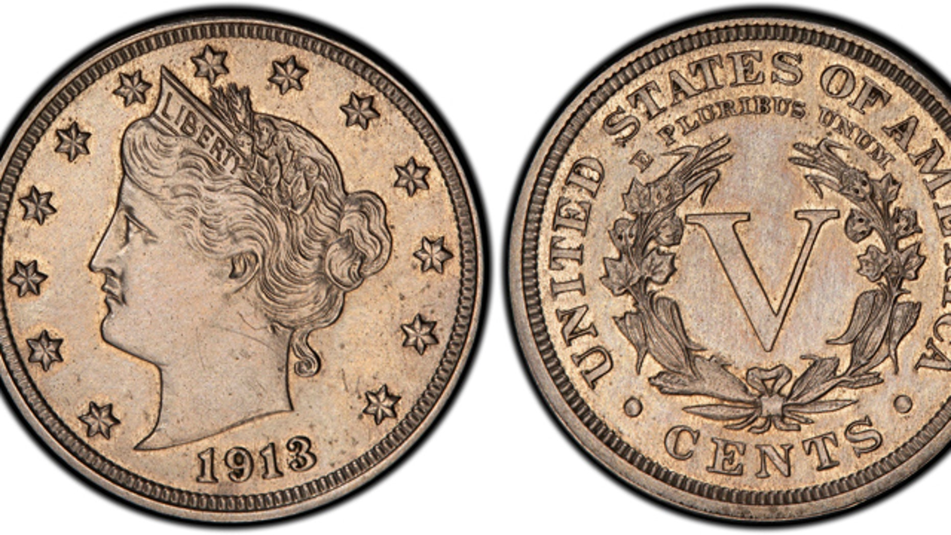 This image provided by Heritage Auctions shows an authentic 1913 Liberty Head nickel that was hidden in a Virginia closet for 41 years after its owners were mistakenly told it was a fake.
