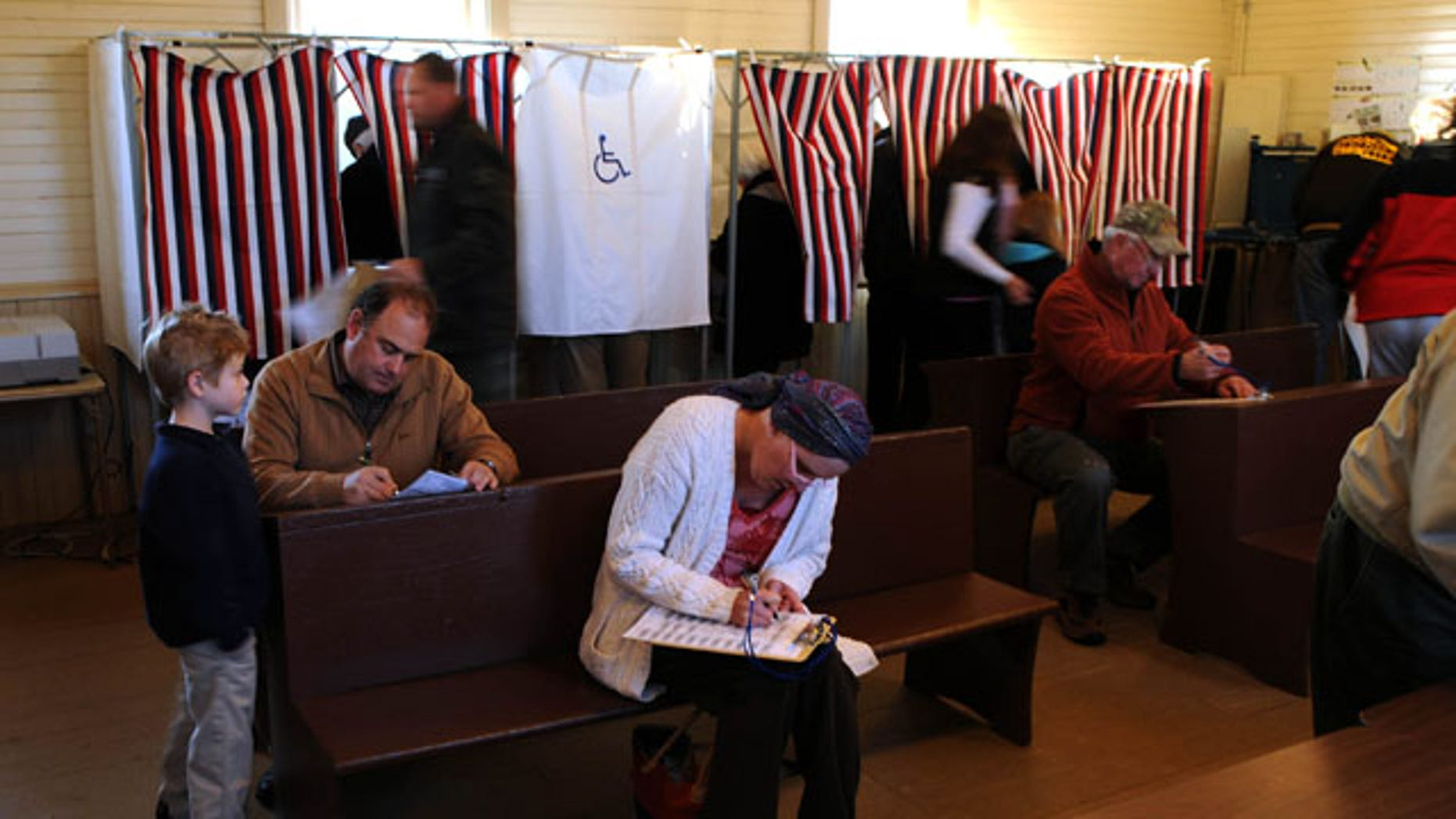 "Nov. 2: Voters cast their ballots at May Town Hall in May Township, Minn. The Minnesota GOP calls complaints about counting machines in several polling locations ""completely unacceptable."""