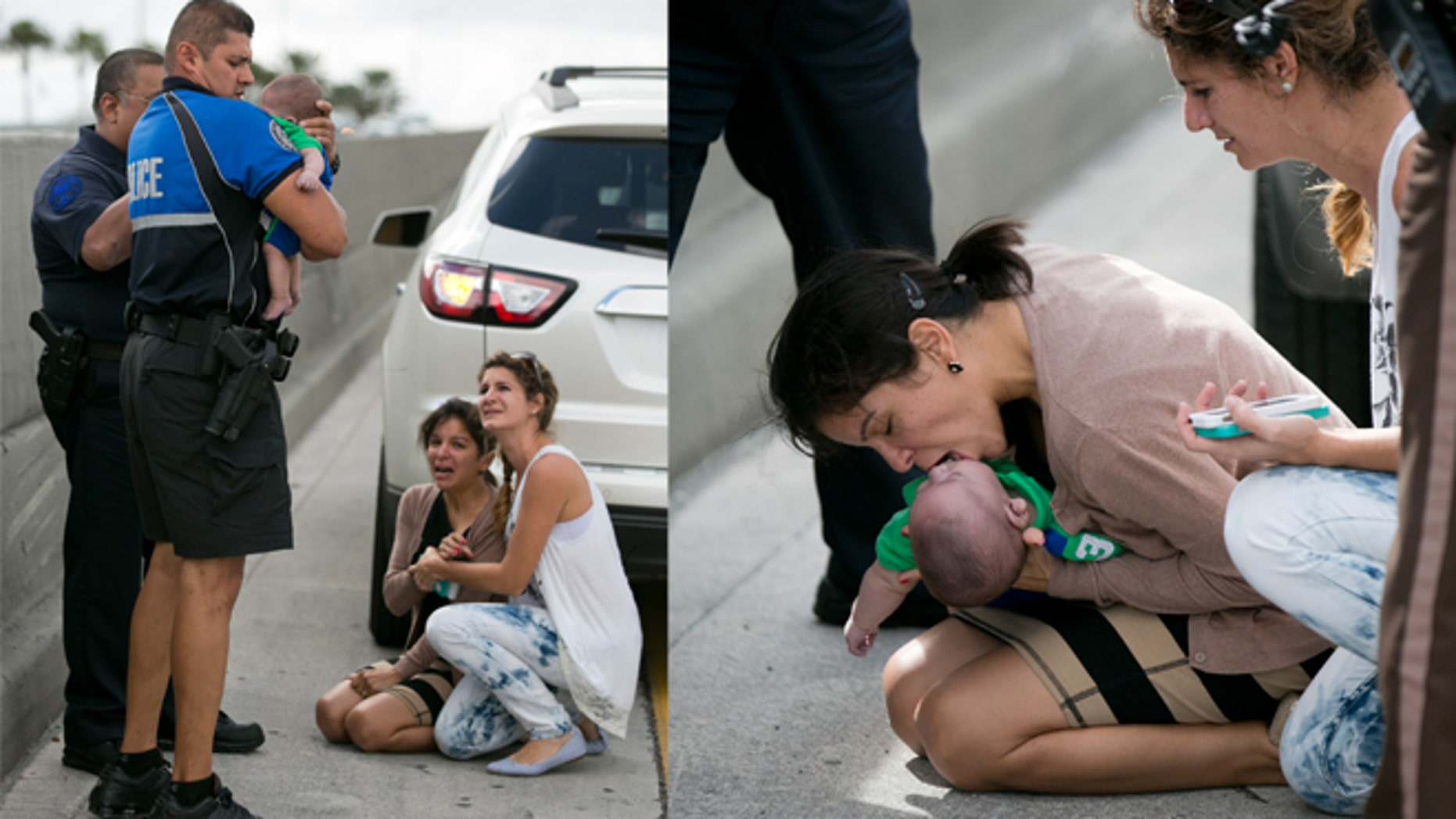 Pamela Rauseo, 37, performs CPR on her nephew, five-month-old Sebastian de la Cruz, after pulling her SUV over on the side of the road along the west bound lane on Florida state road 836 just east of 57th Avenue around 2:30pm on Thursday, Feb. 20, 2014.  At right is Lucila Godoy who stopped her car to assist in the rescue. The baby was rushed to Jackson Memorial Hospital, where he is reportedly doing ok. (AP Photo/The Miami Herald, Al Diaz)
