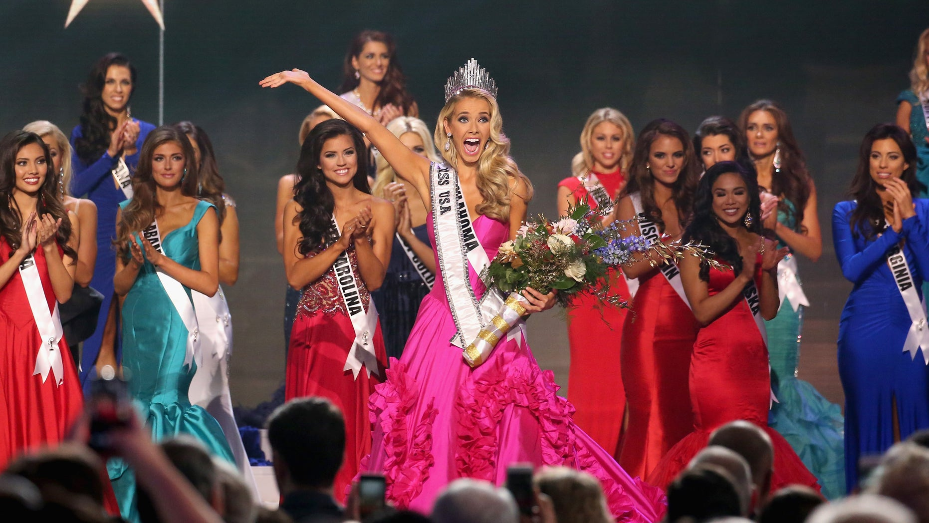 BATON ROUGE, LA - JULY 12:  Miss USA 2015 Olivia Jordan Miss USA 2015 Olivia Jordan walks onstage at 2015 Miss USA Pageant Only On ReelzChannel at The Baton Rouge River Center on July 12, 2015 in Baton Rouge, Louisiana.  (Photo by Josh Brasted/Getty Images for Miss USA)
