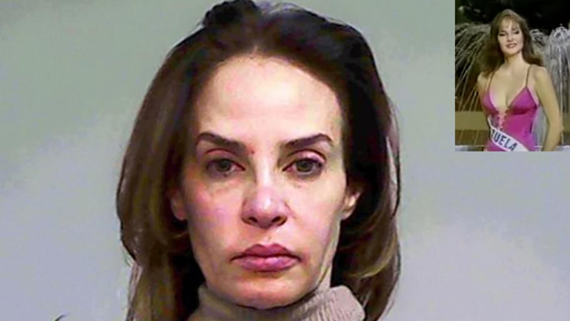 Carmen Lechin in a 2011 mug shot from a different incident. Inset: In happier times, Carmen Maria Montiel competing at the 1984 Miss Universe pageant in Miami.
