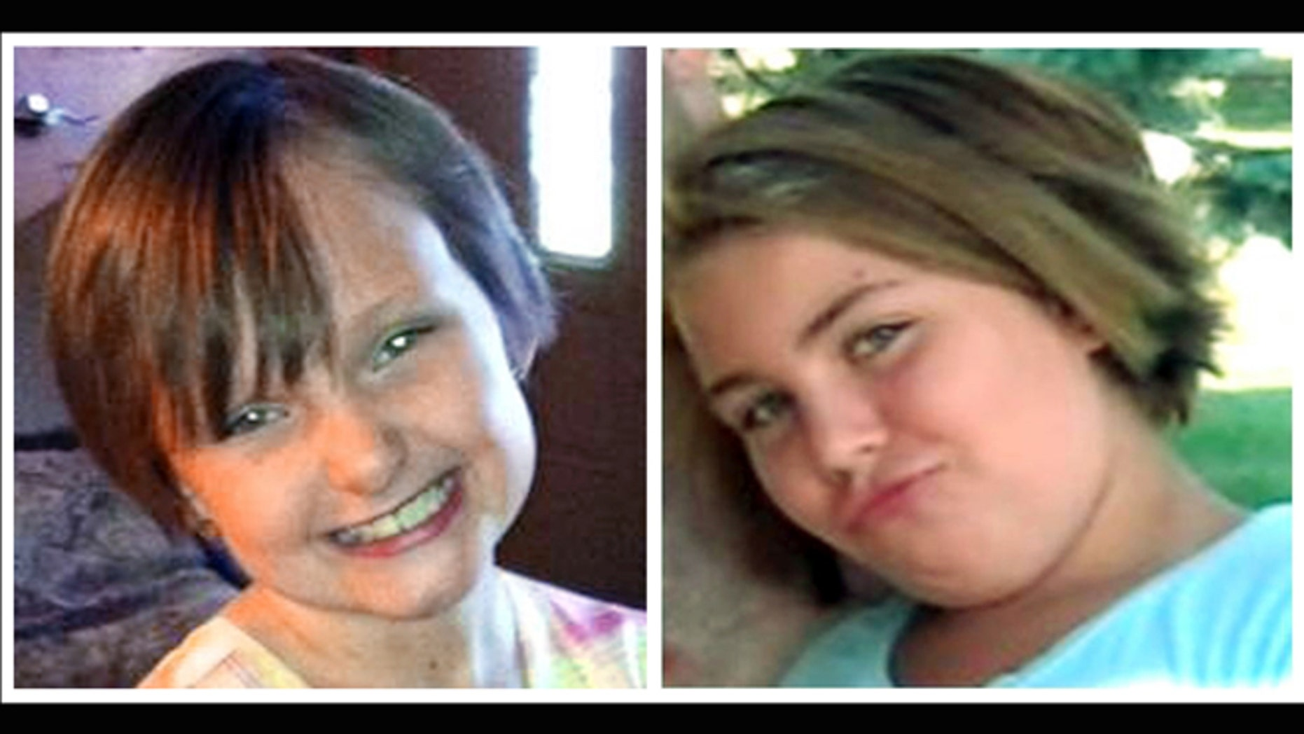 This combo made from undated photos provided by the FBI shows cousins Lyric Cook, 10, right, and Elizabeth Collins, 8, who have been missing since Friday, July 13, 2012. Authorities say hunters have found bodies believed to be two young Iowa cousins who disappeared while riding their bikes in July.