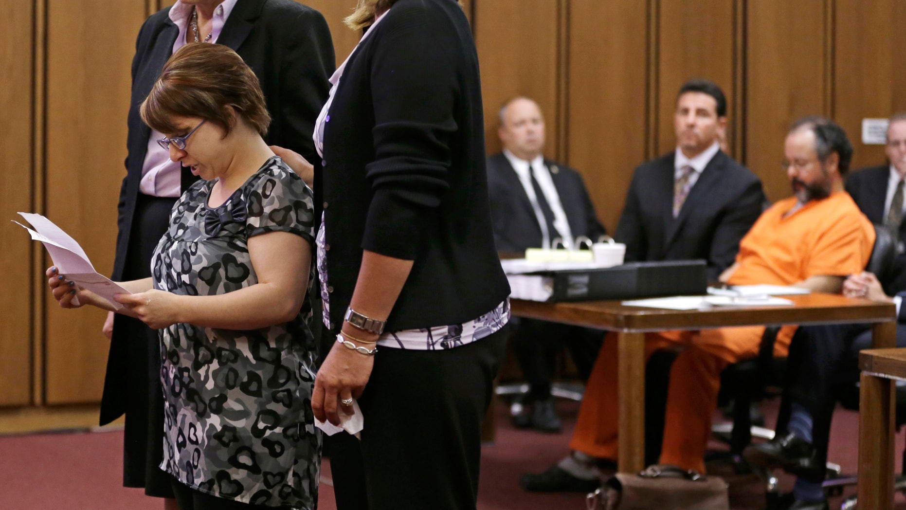 Michelle Knight speaks during the sentencing phase for Ariel Castro in a Cleveland courtroom on Aug. 1, 2013.