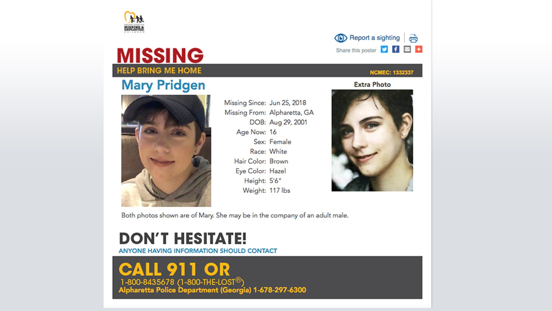 Mary Pridgen, 16, has a diagnosis of Asperger Syndrome, a high-functioning form of autism, was found-safe in New York City Friday, four days after she possible ranaway with an older man, according to a report.