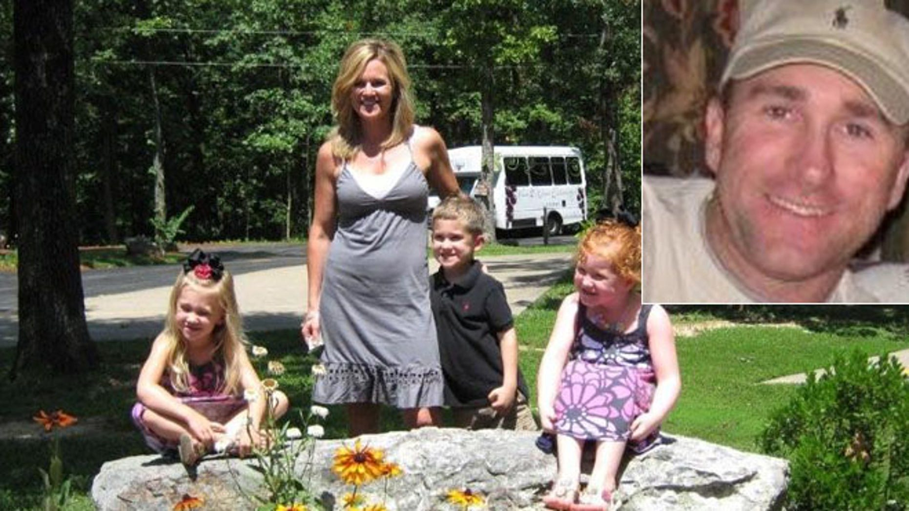 Jacque Sue Waller and her triplet children. Clay Waller, 41, inset, the husband of Jacque Waller, was charged with first-degree murder in her death even though his estranged wife's body has not been found.