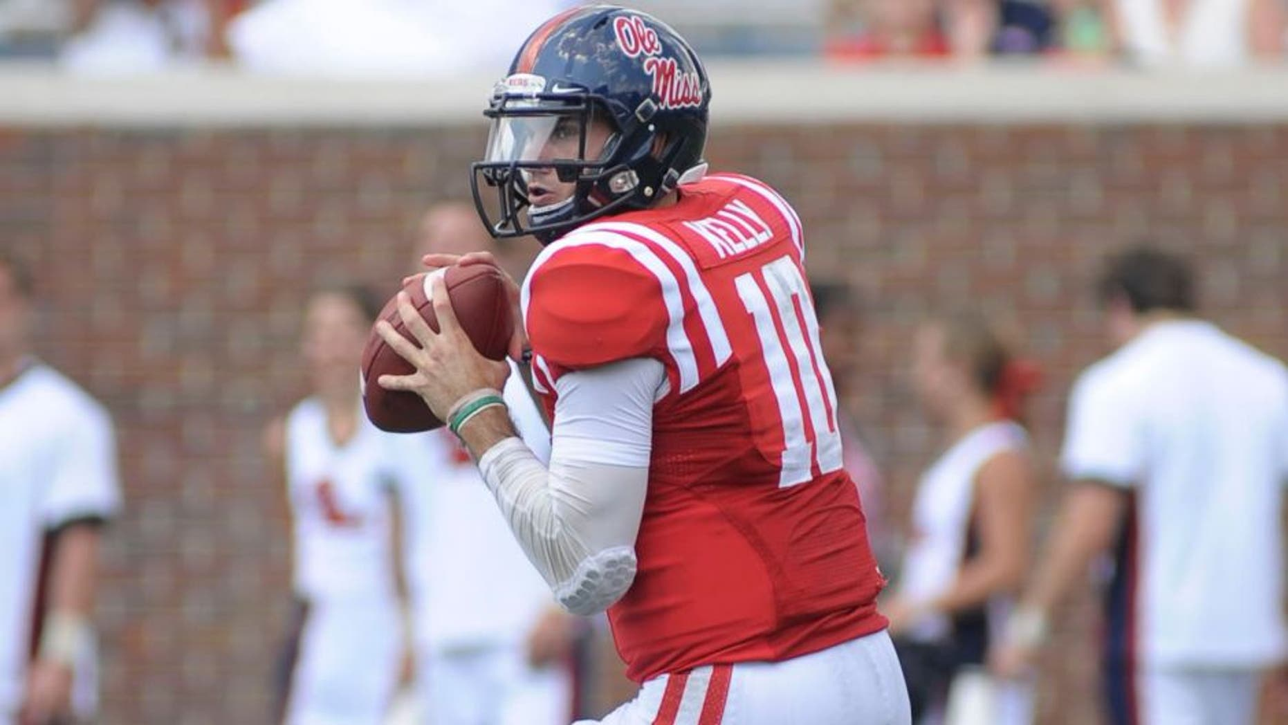 Sep 5, 2015; Oxford, MS, USA; Mississippi Rebels quarterback Chad Kelly (10) looks to pass the ball during the game against the Tennessee Martin Skyhawks at Vaught-Hemingway Stadium. The Rebels won 76 - 3.Mandatory Credit: Justin Ford-USA TODAY Sports