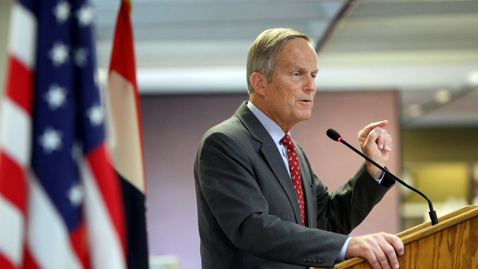 Aug. 10, 2012: File photo - Todd Akin, Republican, candidate for U.S. Senator from Missouri, speaks at the Missouri Farm Bureau candidate interview and endorsement meeting in Jefferson City, Mo.