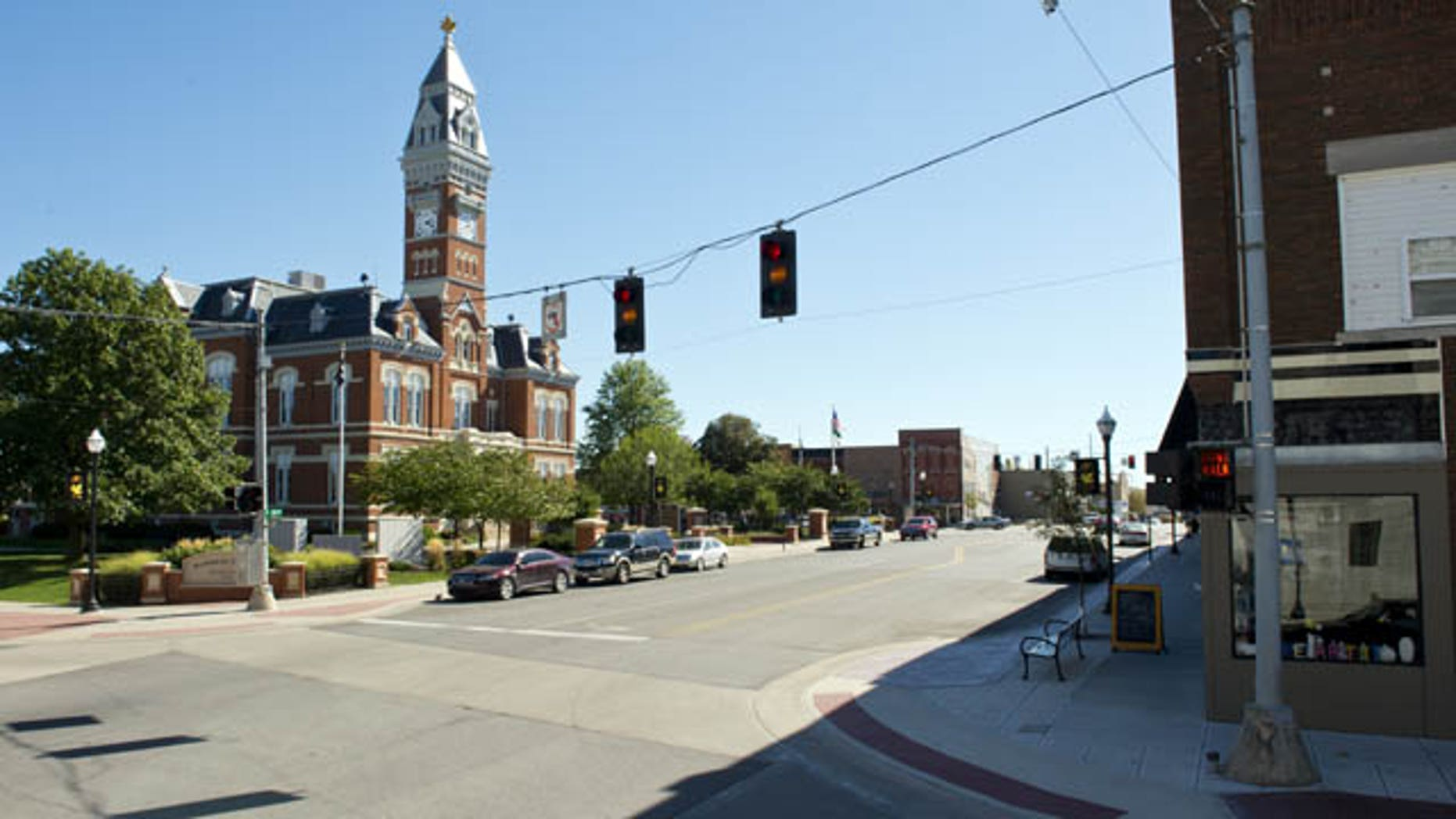 This Oct. 9, 2013 photo shows the Nodaway County Courthouse in downtown Maryville, Mo. (AP Photo/The Kansas City Star, David Eulitt)