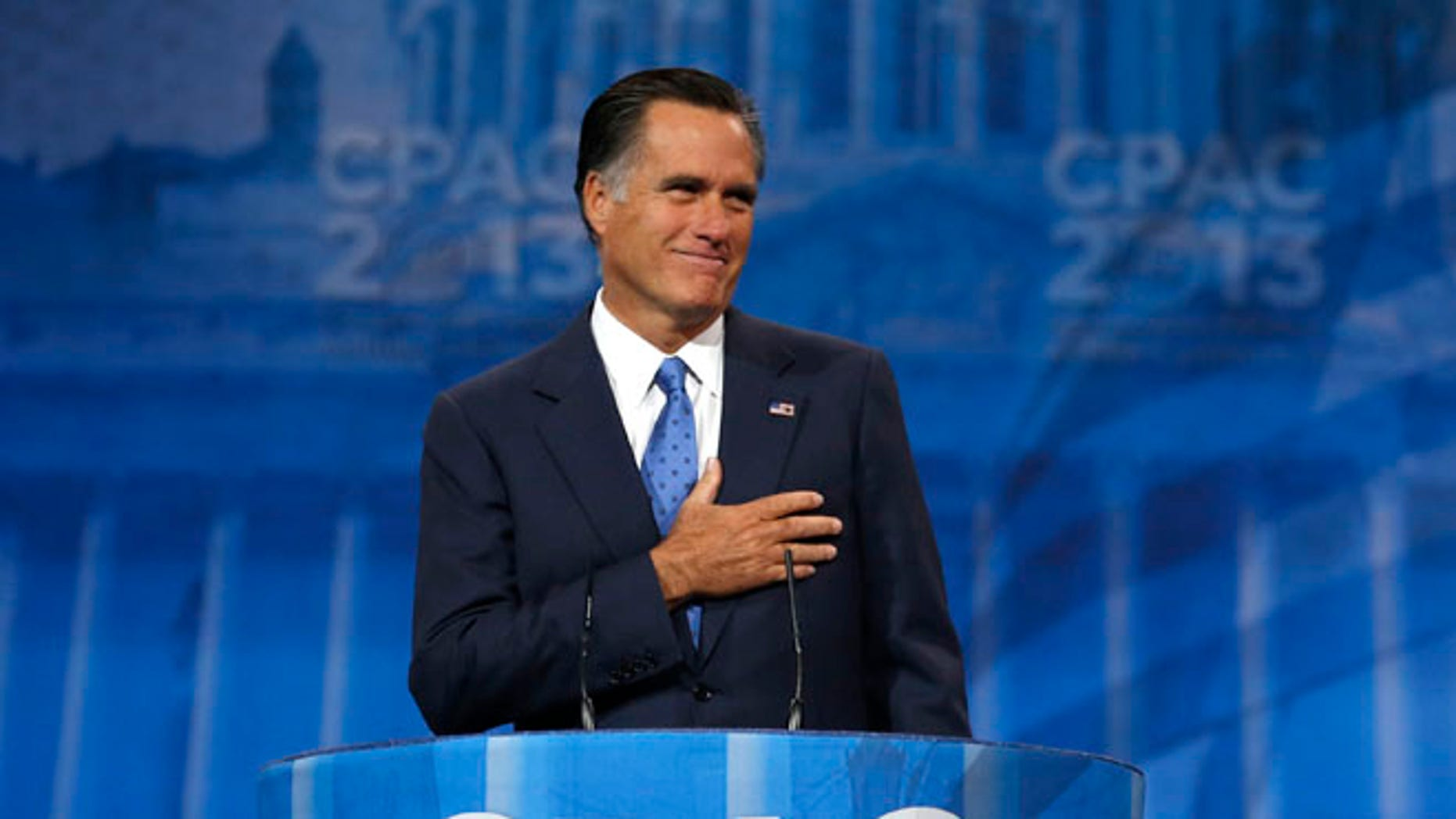 Mitt Romney at the Conservative Political Action Conference (CPAC) at National Harbor, Maryland Mar. 15, 2013.