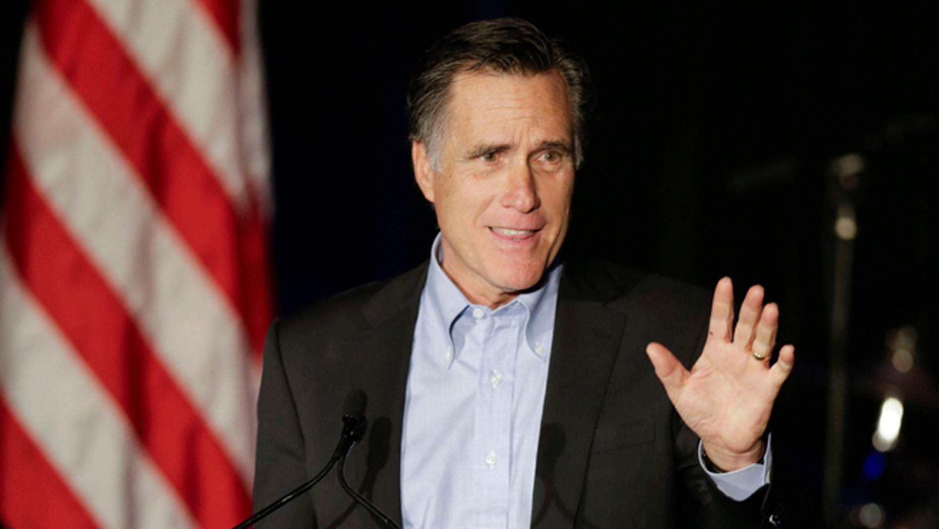 Mitt Romney, the former Republican presidential nominee, speaks during the Republican National Committee's winter meeting aboard the USS Midway Museum Friday, Jan. 16, 2015, in San Diego.
