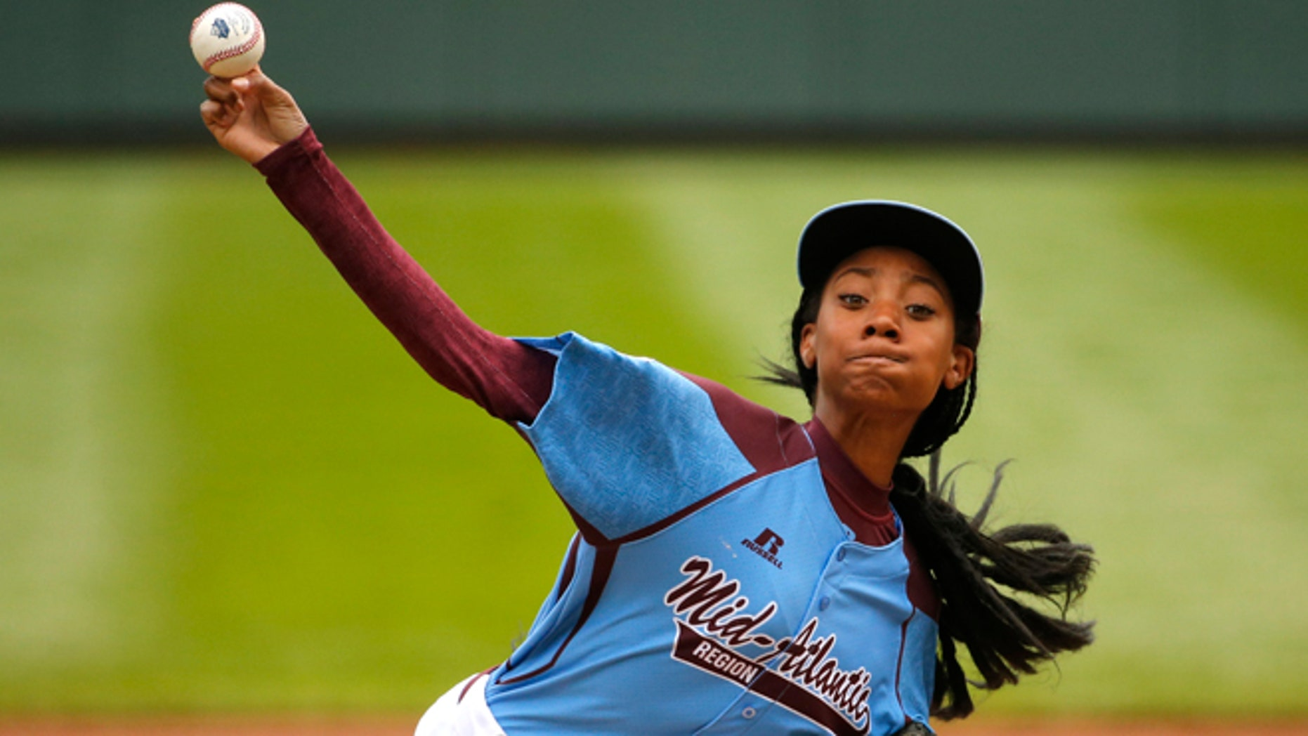 Aug. 15, 2014: Pennsylvania's Mo'ne Davis delivers in the first inning against Tennessee during a baseball game in United States pool play at the Little League World Series tournament in South Williamsport, Pa.