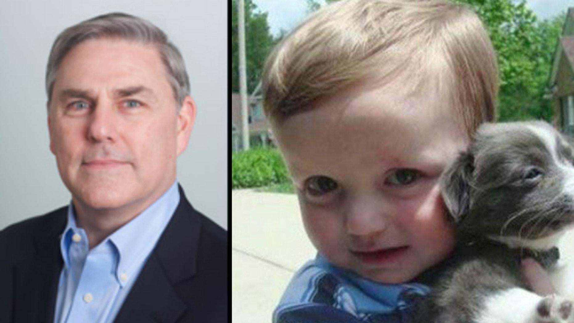 Chimerix CEO Kenneth Moch (L) and 7-year-old Josh Hardy (R)