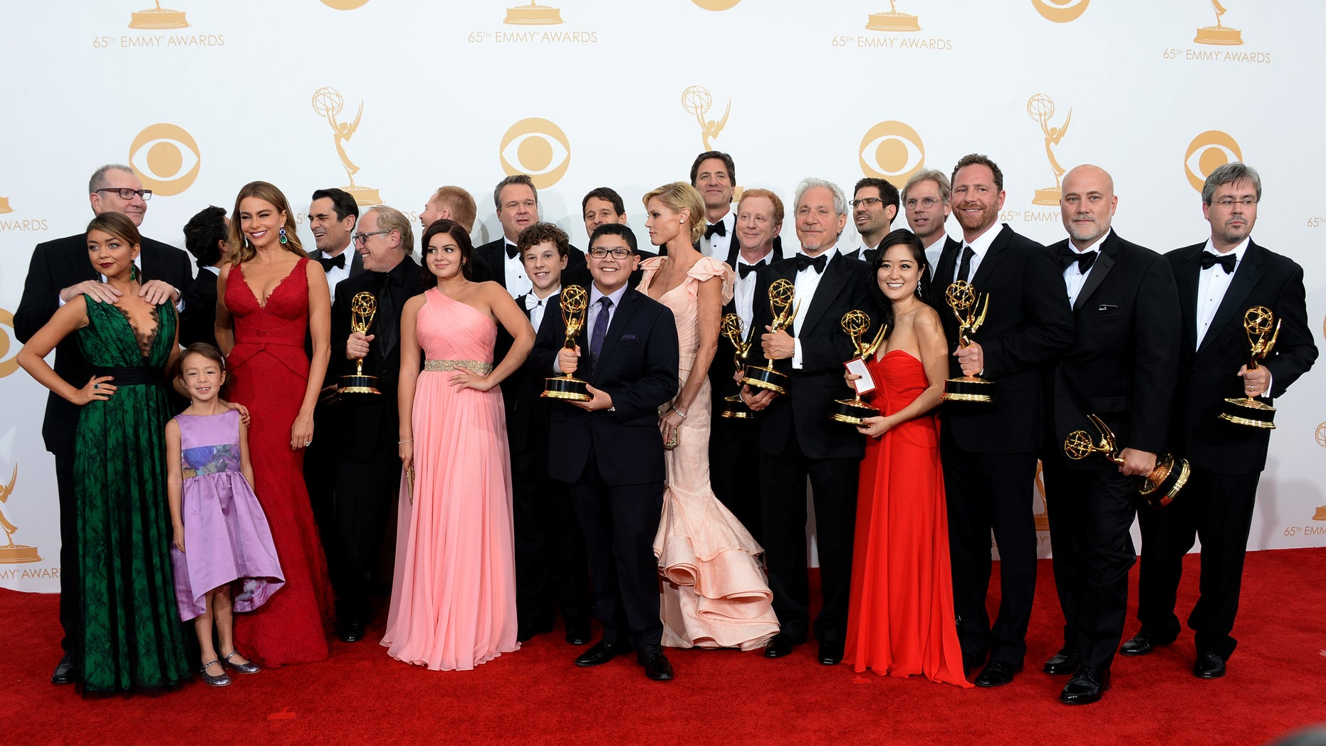 """""""Modern Family"""" cast during the 65th Emmy Awards on September 22, 2013 in Los Angeles, California."""