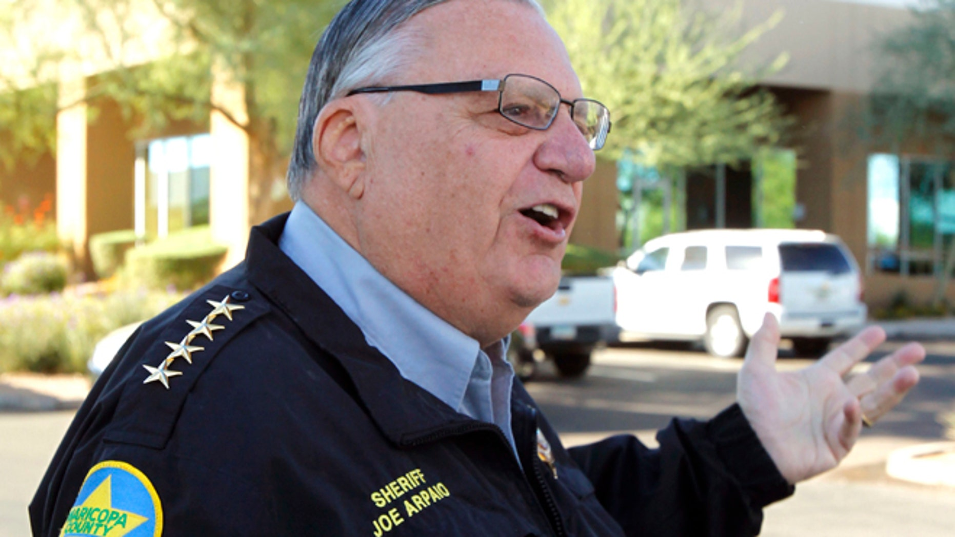 Maricopa County Sheriff Joe Arpaio speaks to the media on Nov. 1, 2011. (AP Photo/Ross D. Franklin, File)