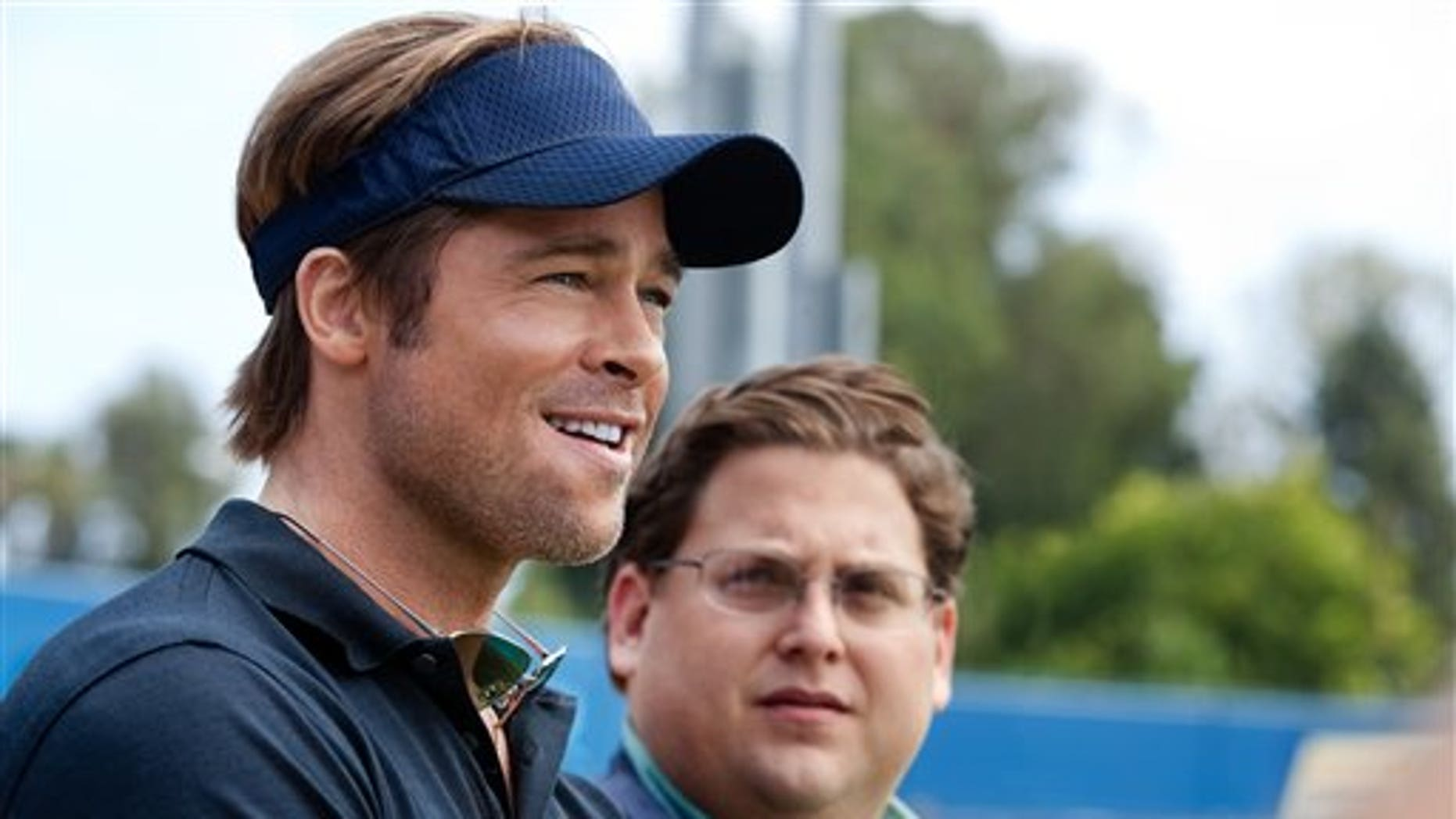 """Brad Pitt and Jonah Hill in a scene from the film """"Moneyball."""" (AP)"""