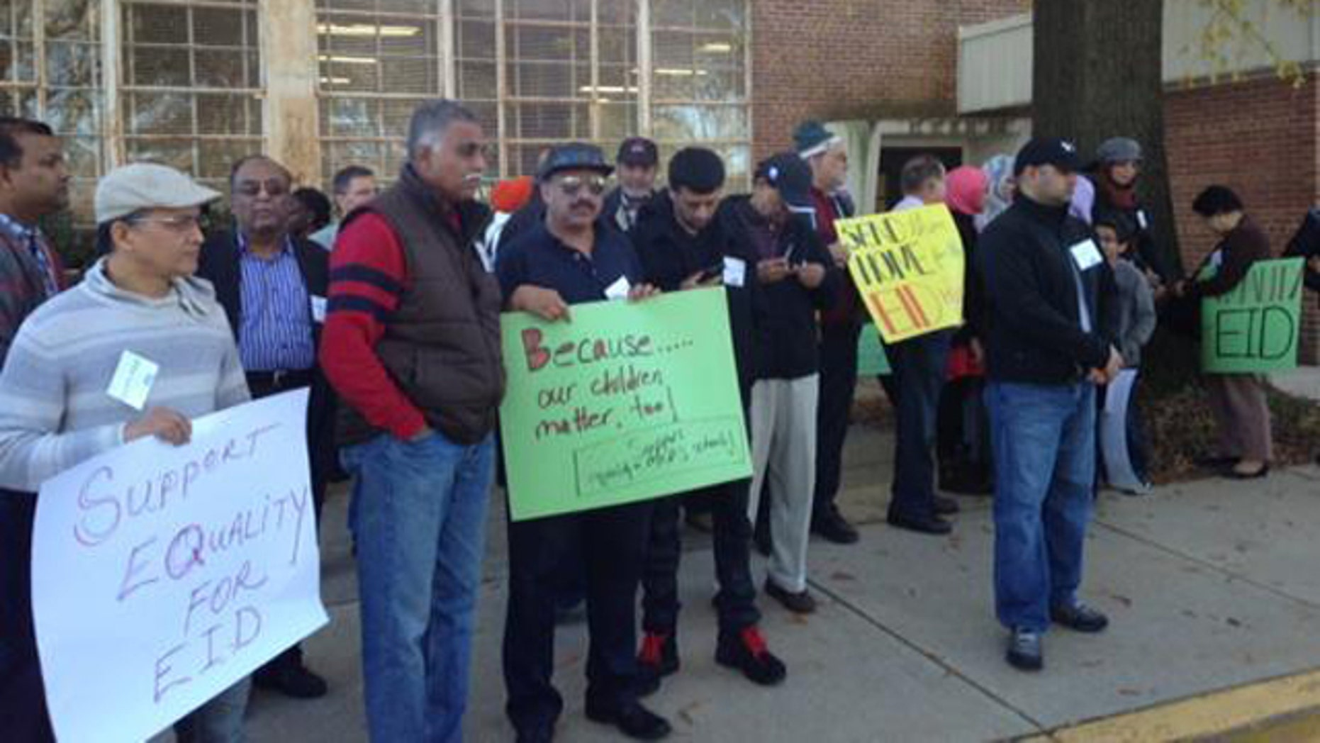 November 11, 2014: Muslims in Montgomery County, Md. gather outside a meeting of the county's school board to demand that the Muslim holiday of Eid al-Ahad receive recognition as an official religious holiday off from school. (MyFoxDC.com)
