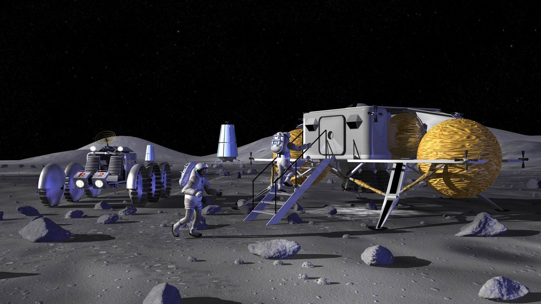 A NASA artist's rendering of possible activities during future space exploration missions at a manned lunar base.