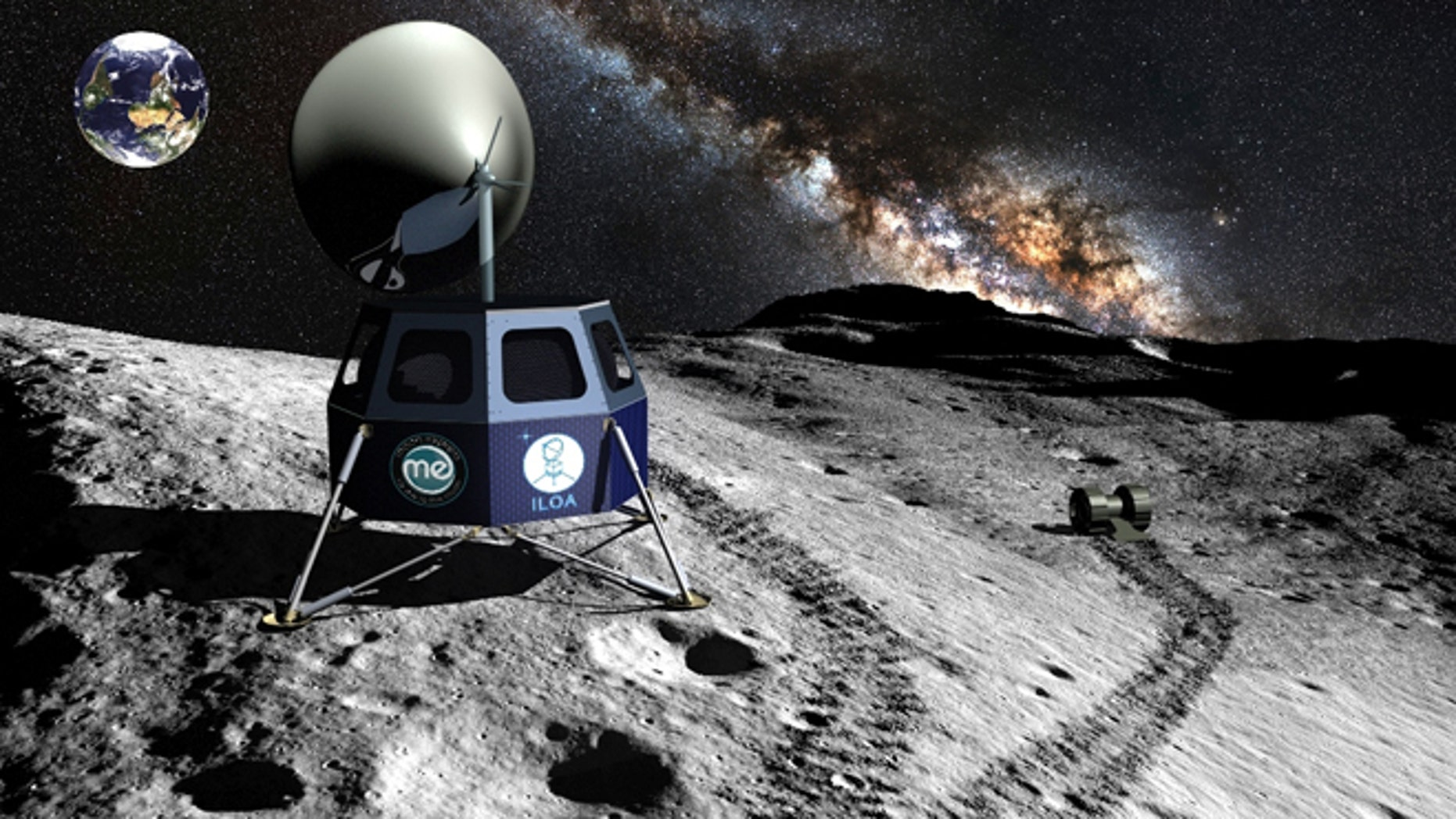Artist's depiction of the ILO lunar telescopes that will be delivered by a Moon Express lander