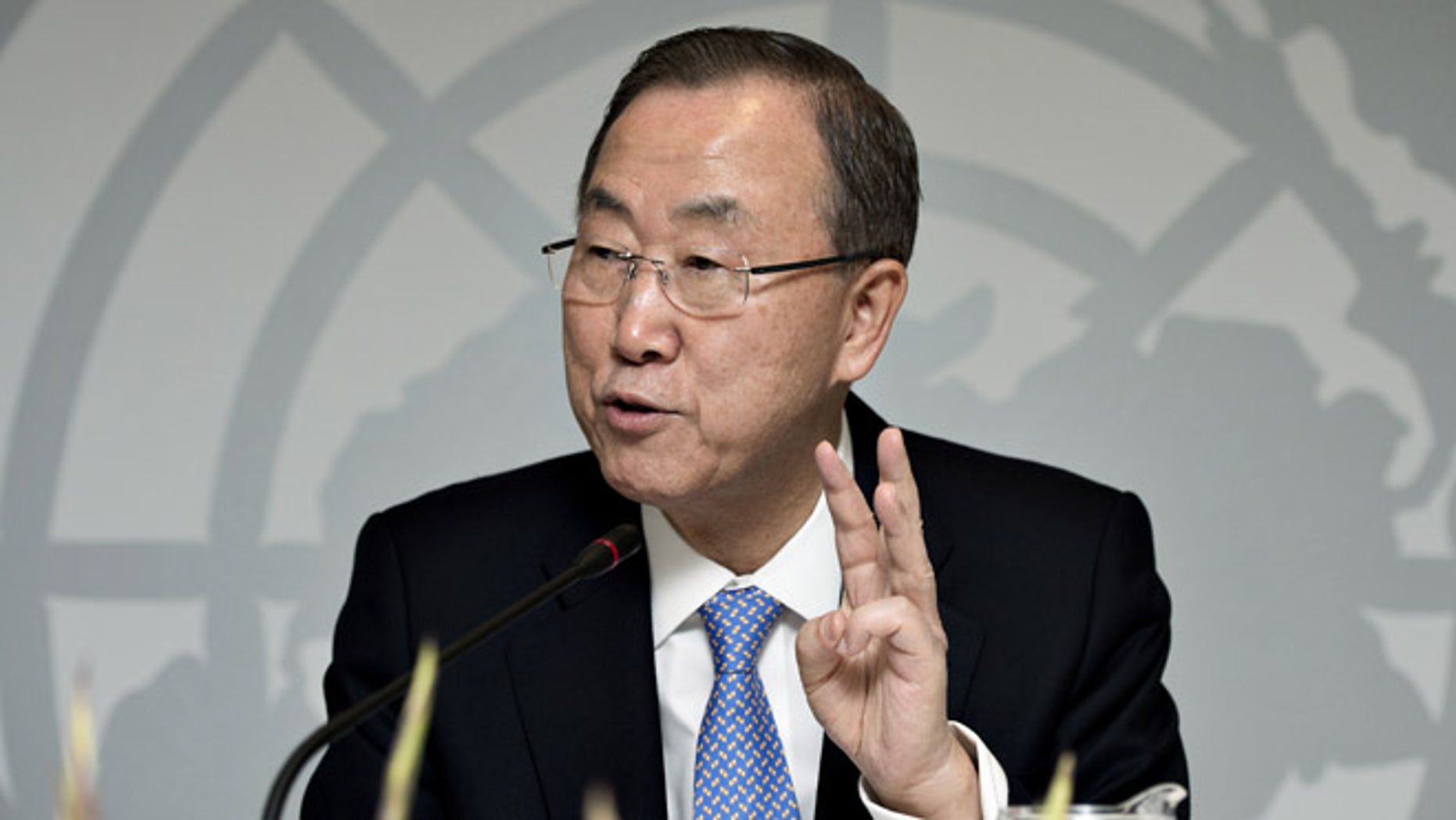 Oct. 23, 2013: UN General Secretary Ban Ki-moon gestures,  during a press conference in Copenhagen.