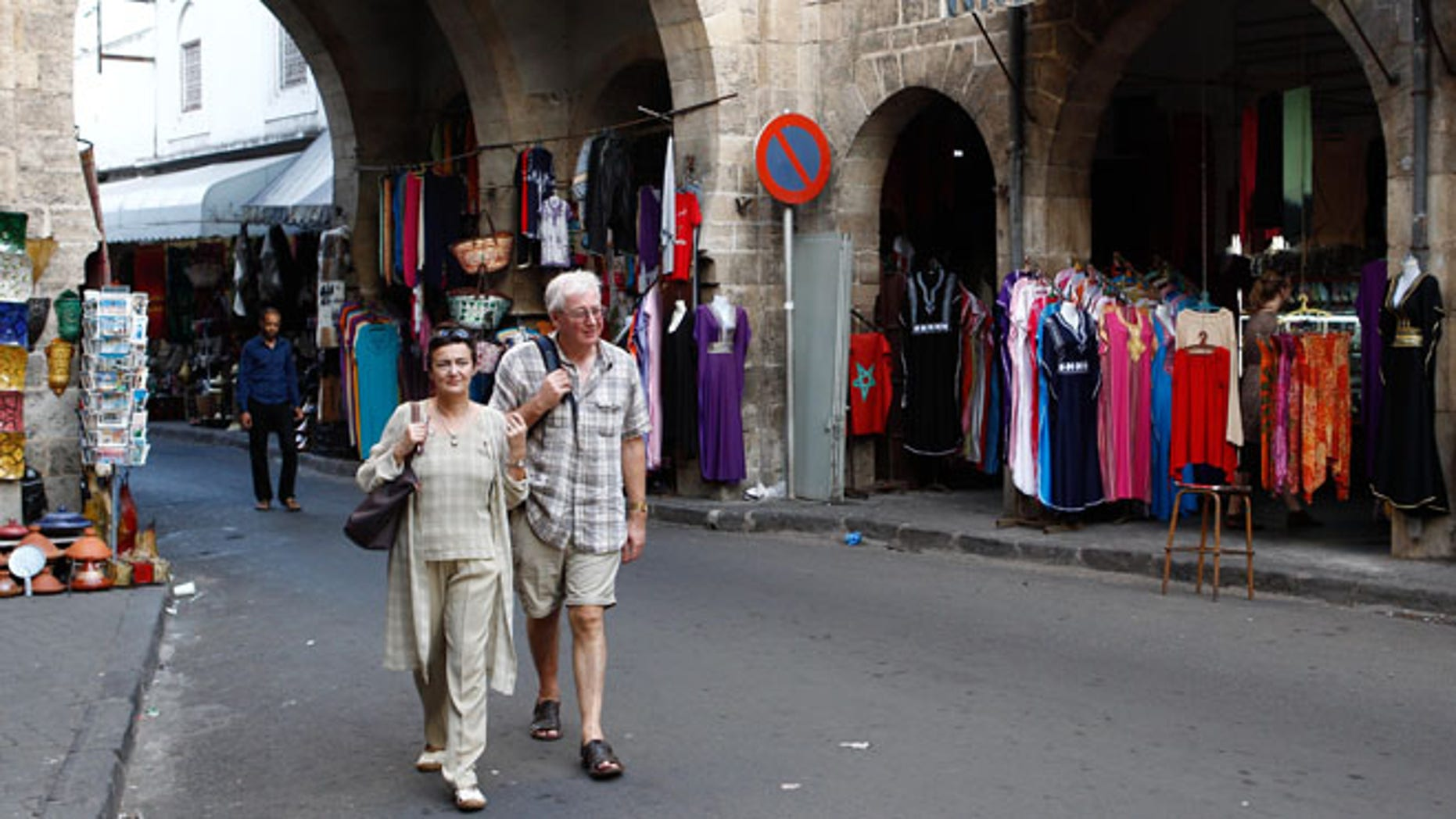 Oct. 7, 2012: Tourists stroll through Casablanca, Morocco's Habous district, built by the French in the 1920s to resemble a traditional Moroccan medina.