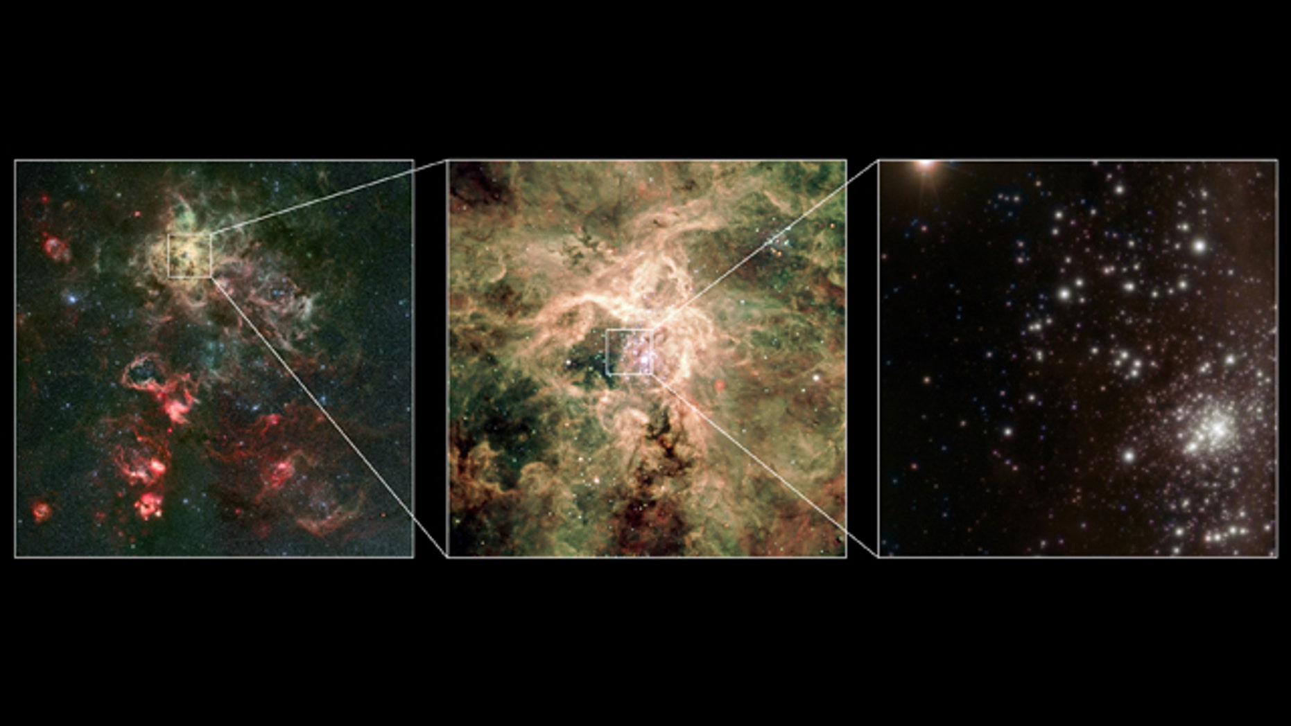 Scientists have indentified the star R136a1 -- thought to be the heaviest star ever discovered, hundreds of times more massive than the sun -- Wednesday after working out its weight for the first time. This montage shows a visible-light image of the Tarantula nebula (left) along with a zoomed-in visible-light image from the Very Large Telescope (middle). A new image of the R136 cluster, obtained with the Very Large Telescope is shown in the right-hand panel, with the cluster itself at the lower right.