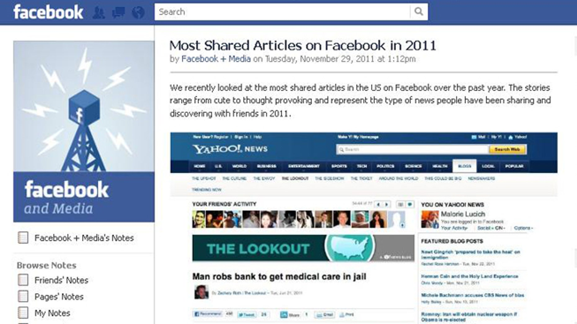 """A list published on Facebook purports to reveal the most """"shared"""" stories of 2011 -- but it remains unclear just how comprehensive that list is."""