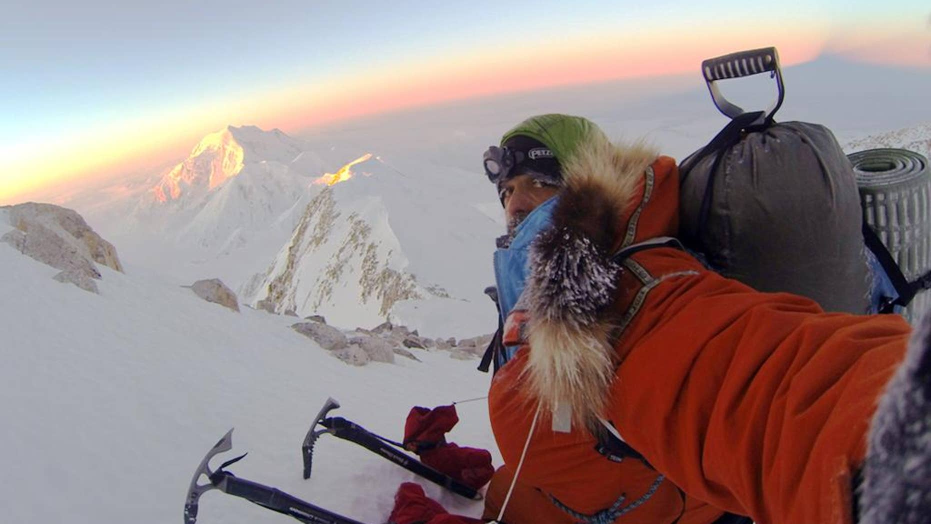 In this 2012 photo provided by climber Lonnie Dupre, Dupre takes a selfie during a failed attempt to climb the summit of Alaska's Mount McKinley, the tallest peak in North America. Dupre's support team said Monday, Jan. 12, 2015, that the Minnesota adventurer has succeeded in his fourth attempt to become the first solo climber to reach the summit, citing a GPS tracking device. (AP Photo/Lonnie Dupre)
