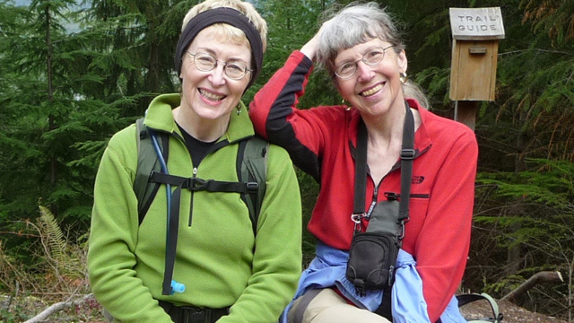 This undated image provided by Lola Kemp shows missing hiker Karen Sykes, right, with her friend Lola Kemp. (AP Photo/Lola Kemp)
