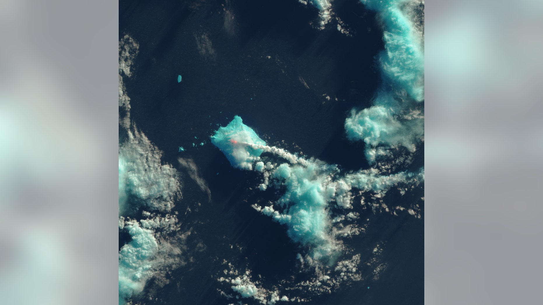 Nobody lives near Mount Sourabaya, but a NASA satellite captured its eruption in the South Atlantic in this false-color image.